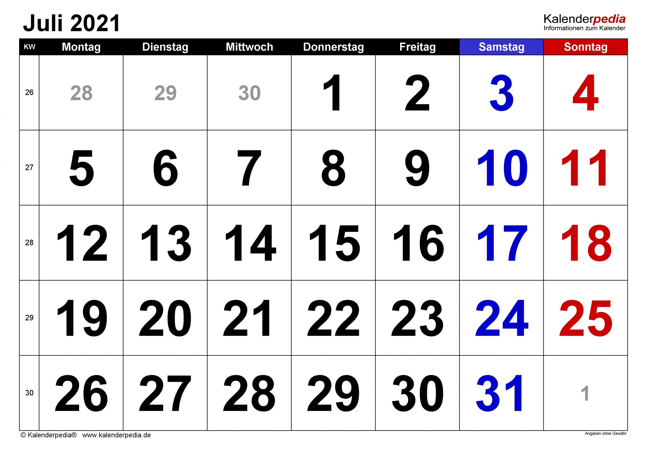 Pick Kalender 2021 Ab Juli
