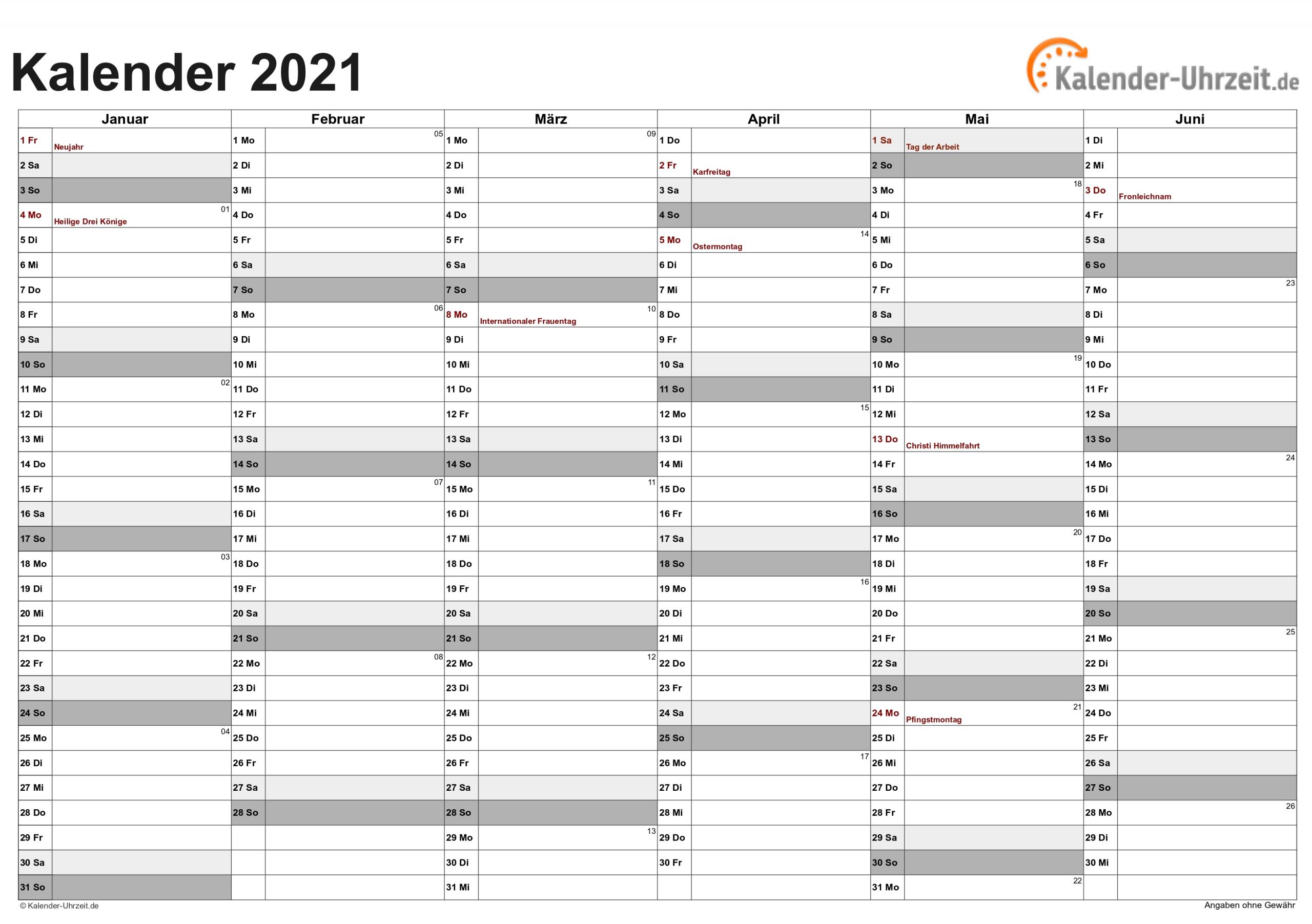 Pick Kalender 2021 Deutsch Zum Ausdrucken
