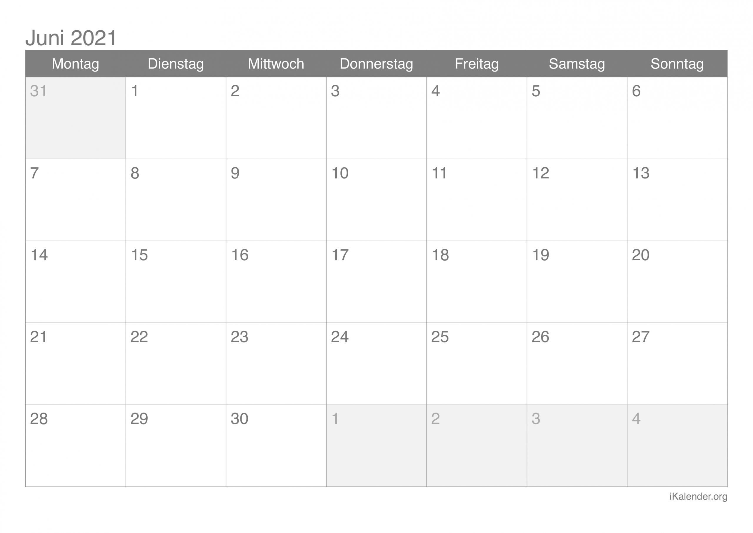 Pick Kalender 2021 Juni