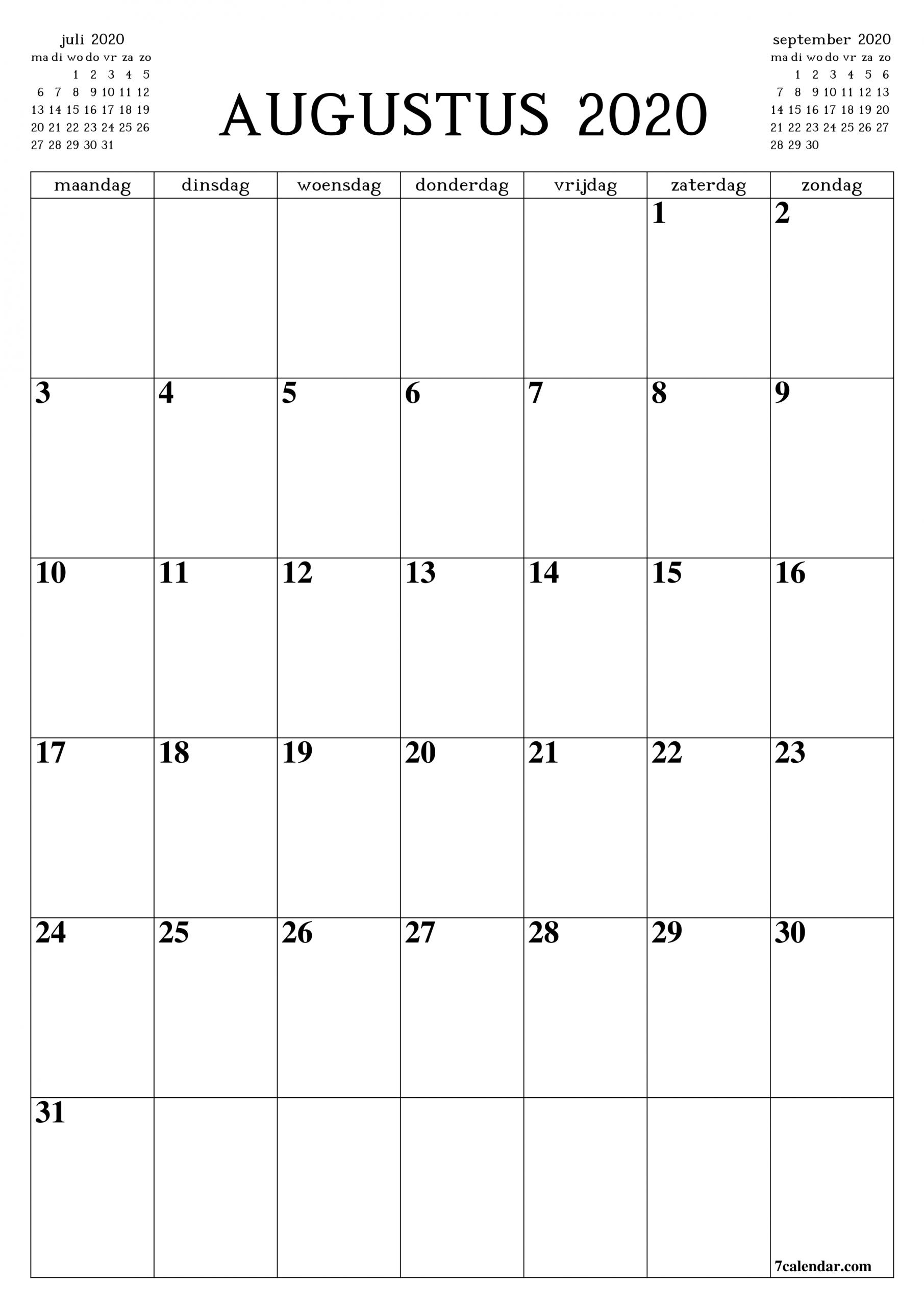 Pick Kalender Augustus 2021