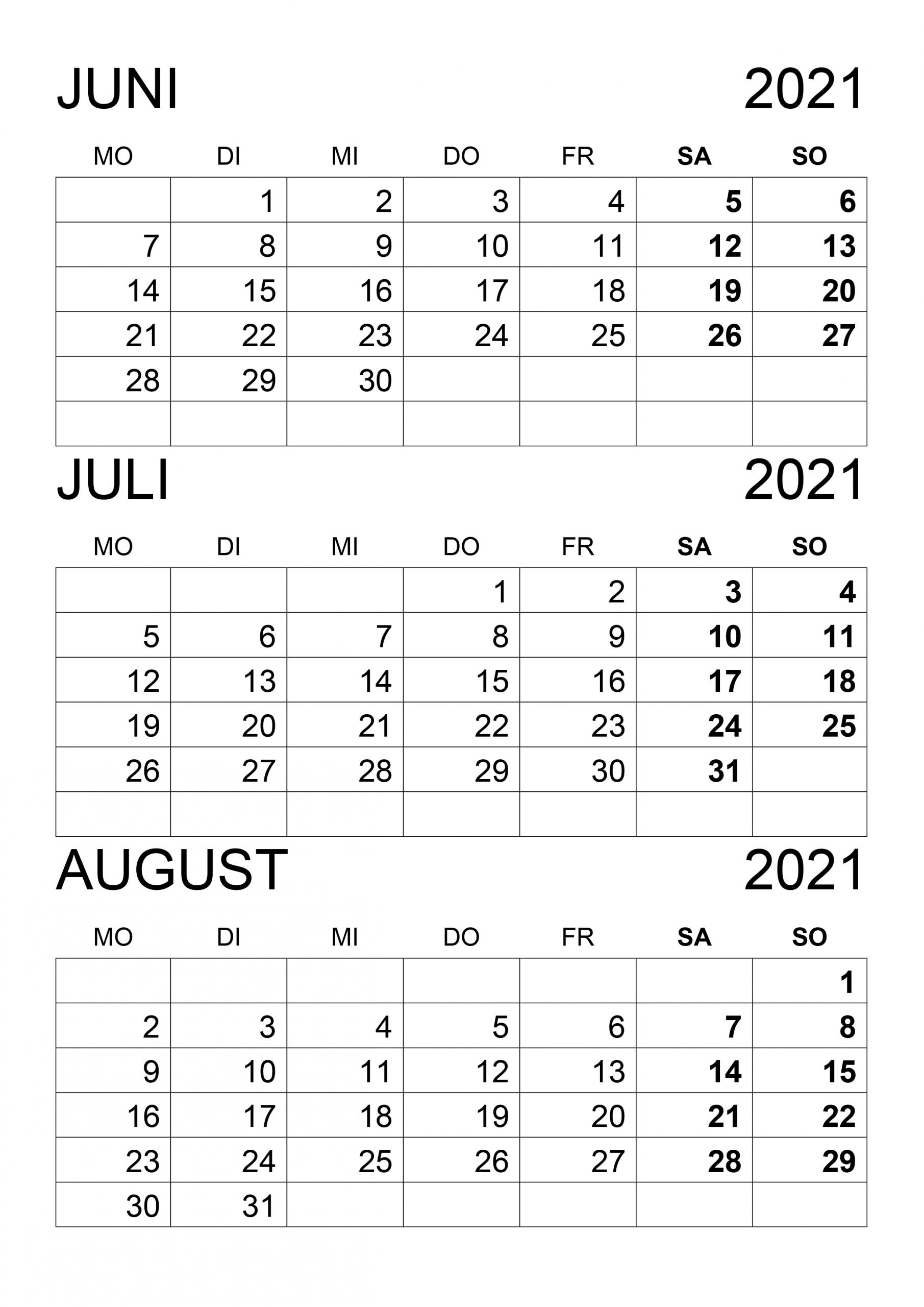 Pick Kalender Juni Juli August 2021