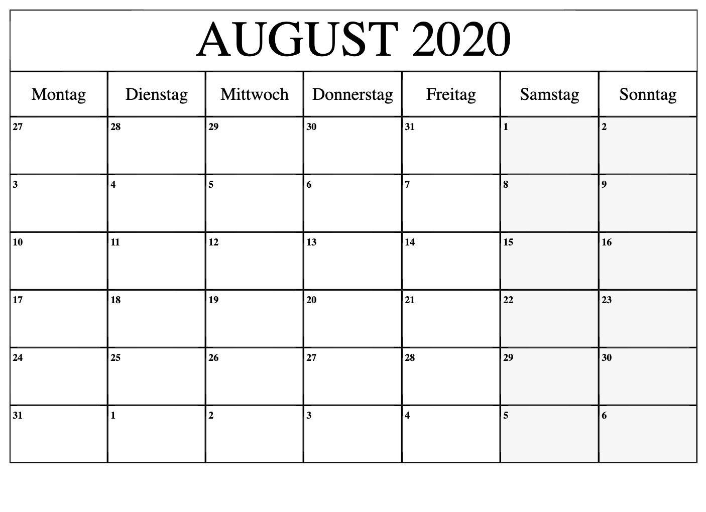Pick Kalender Monat August 2021 Zum Ausdrucken Kostenlos