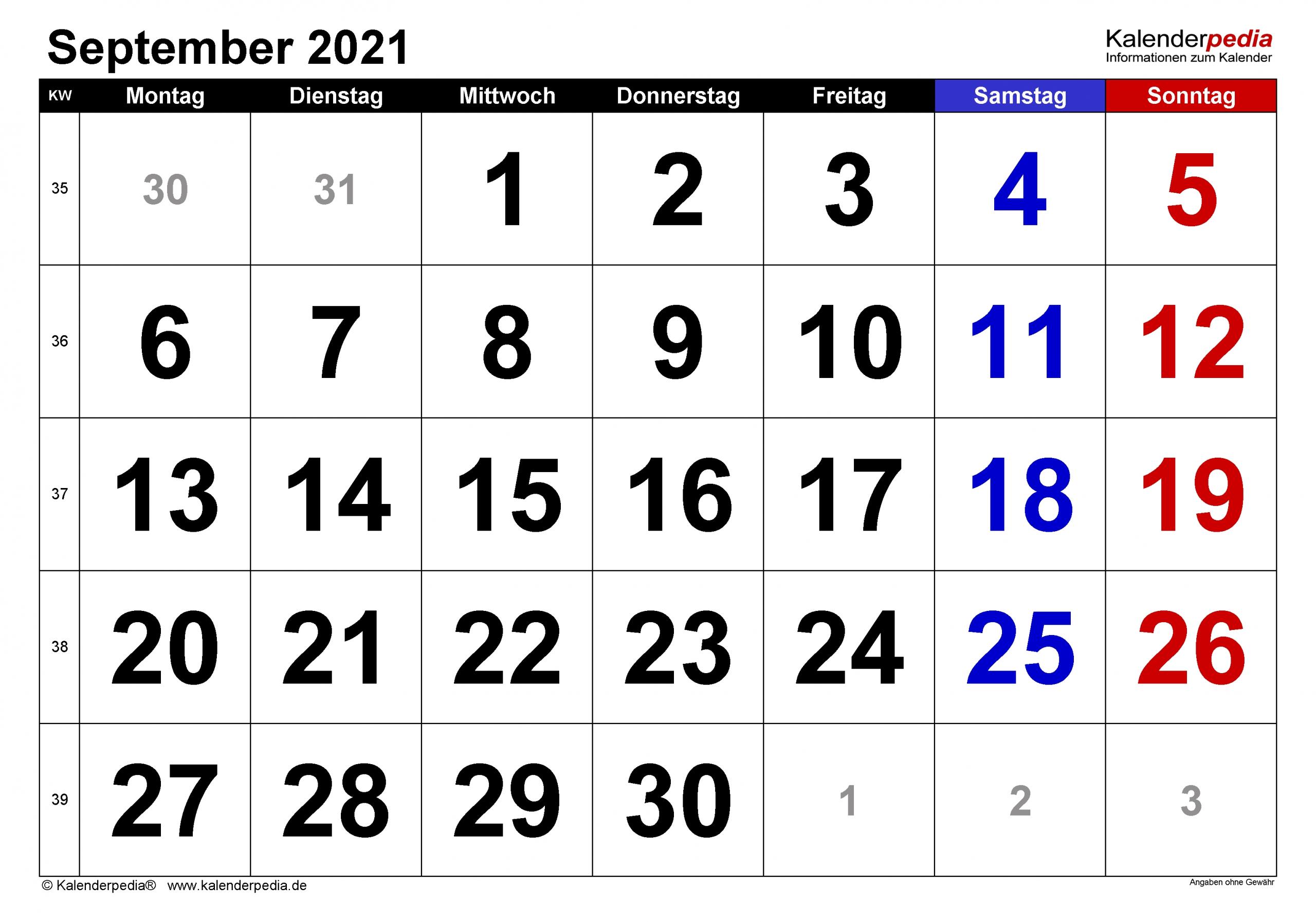 Pick Kalender September En Oktober 2021