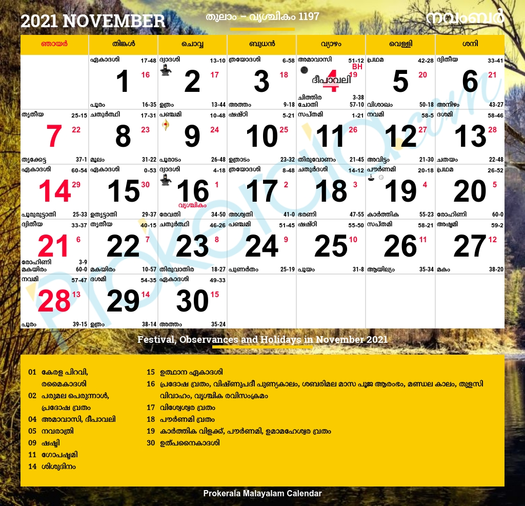 Pick Malayalam Calendar 2021 August