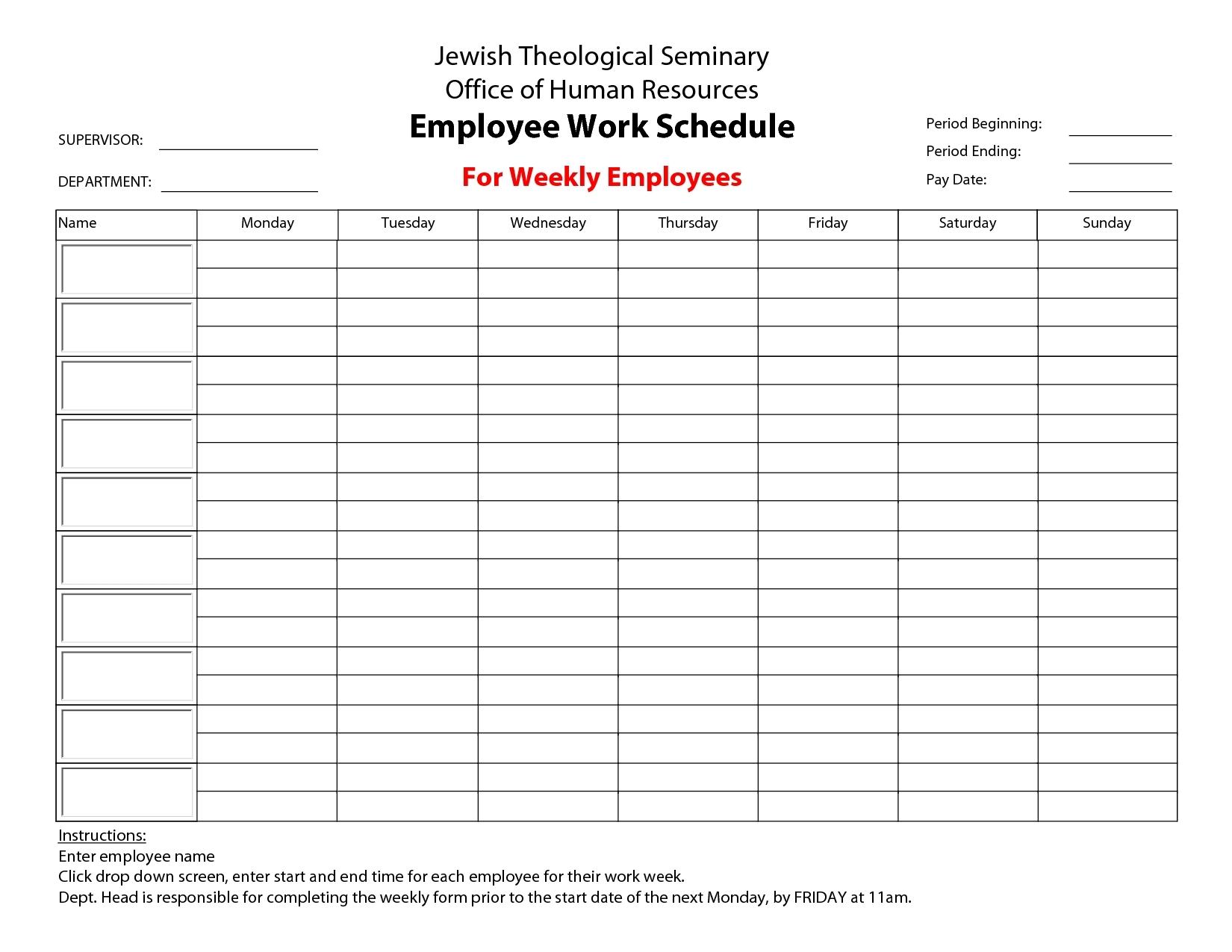Pick Manual Monday - Friday Time Sheet Template