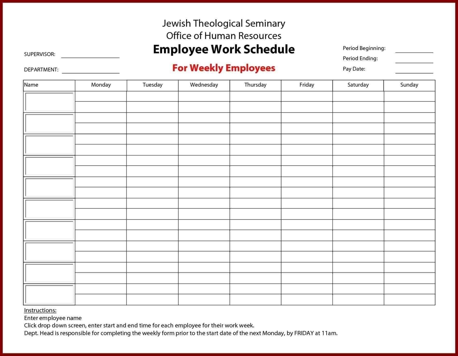 Pick Manual Monday – Friday Time Sheet Template