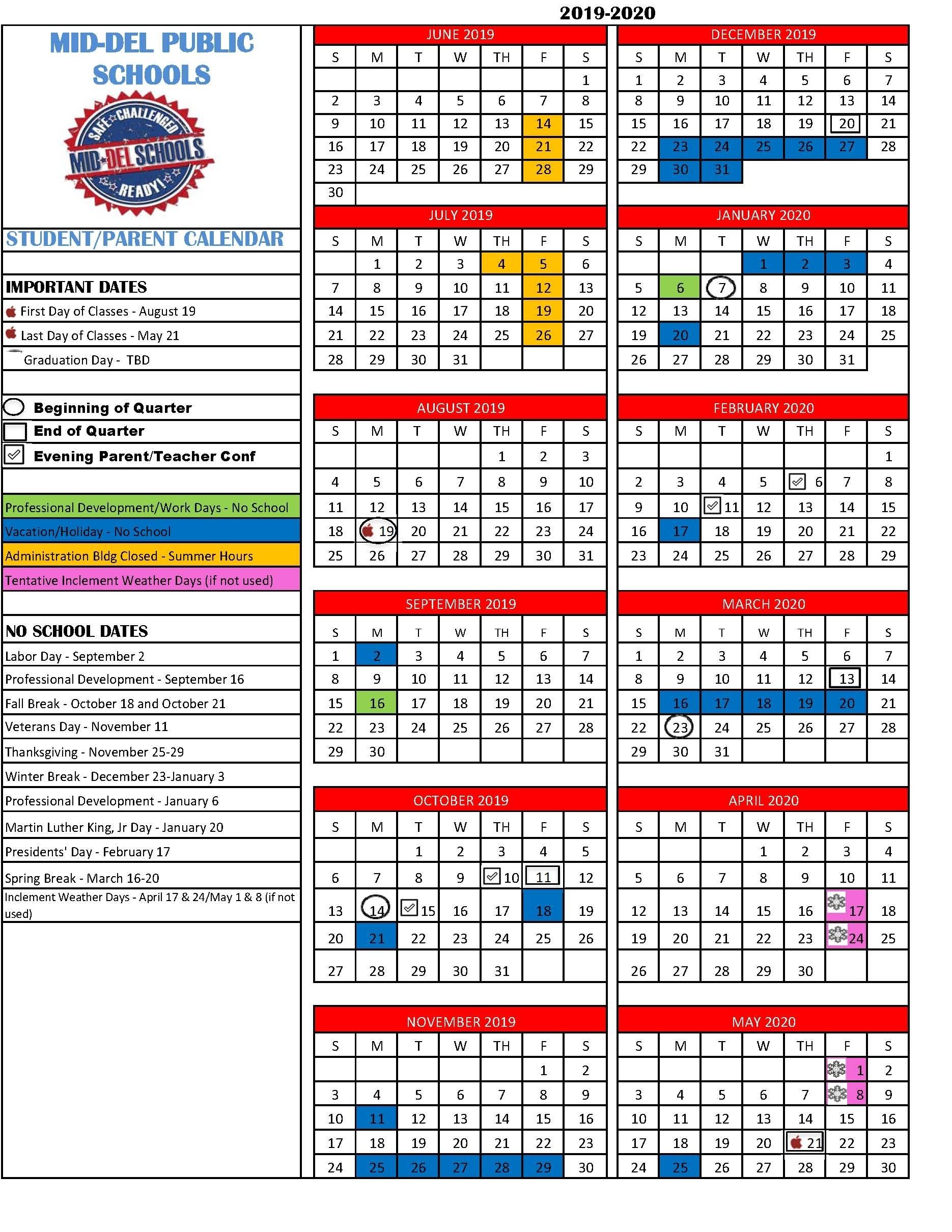 Pick Mid Del Pulic Schools Fall 2021 Calendar