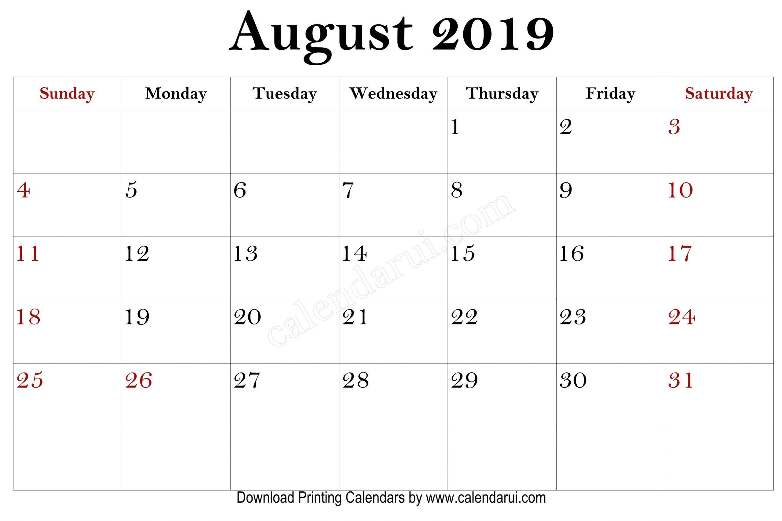 Pick Mini Calendar August