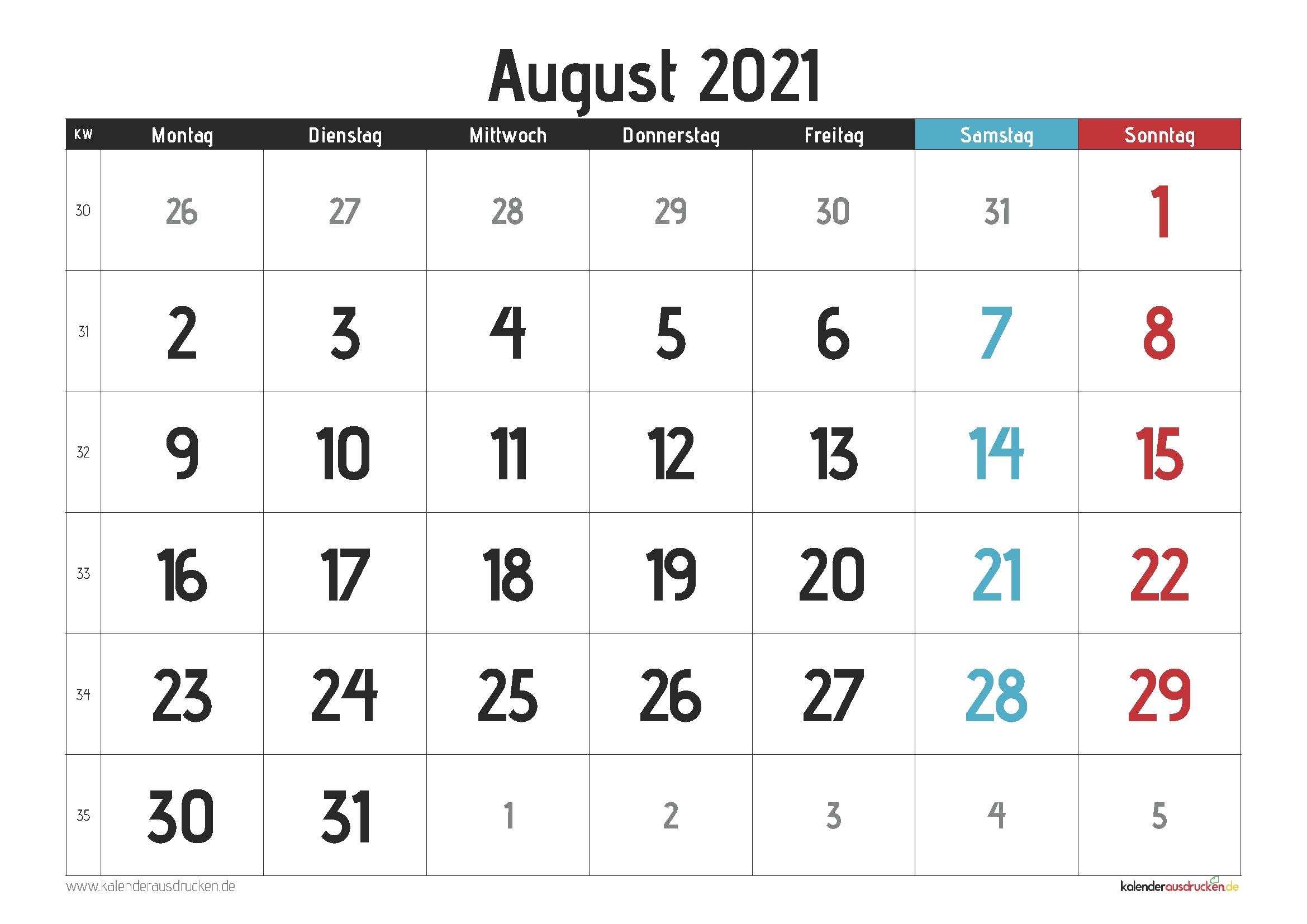 Pick Monatskalender August 2021 Pdf
