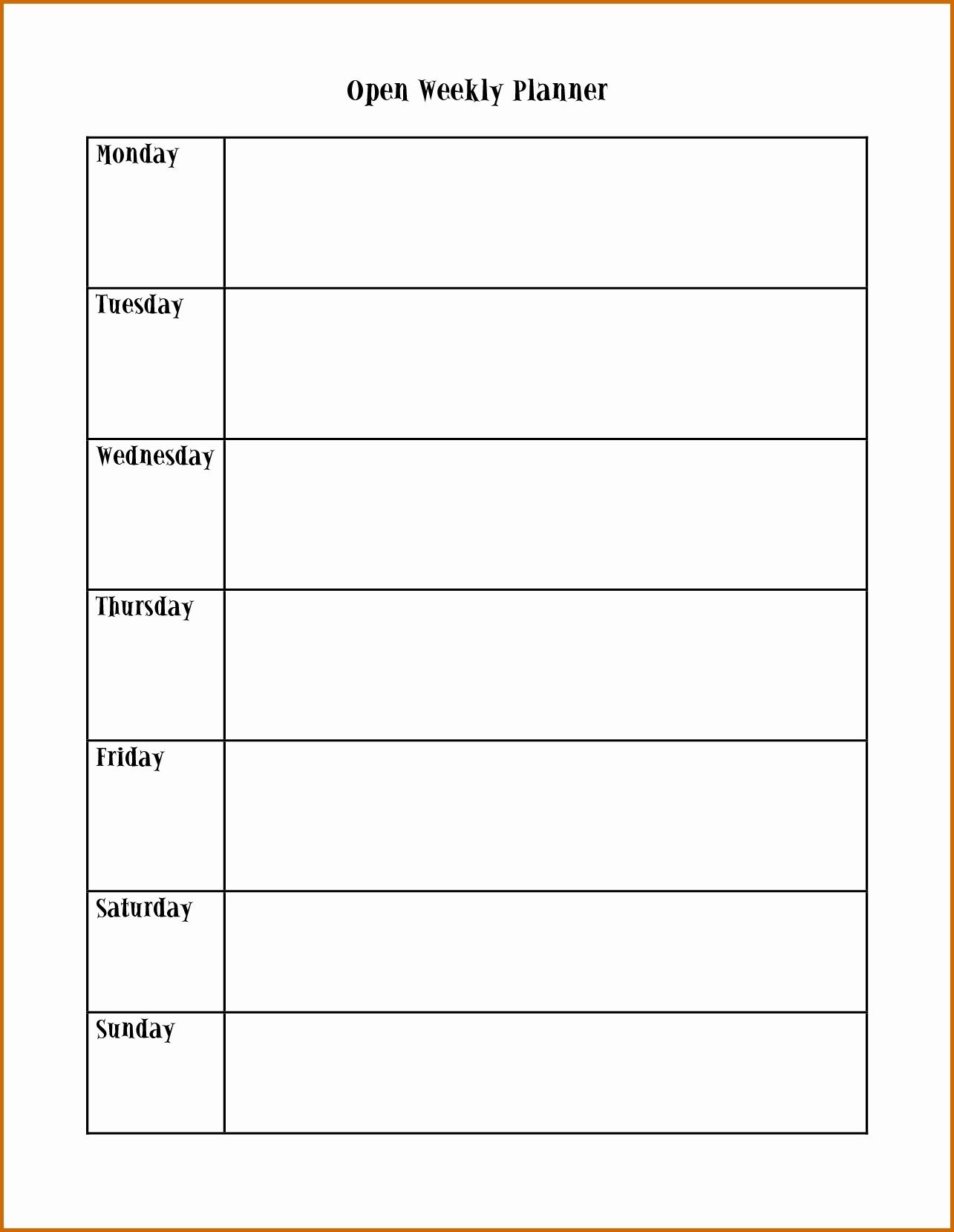 Pick Monday Friday Calendar Template Printable