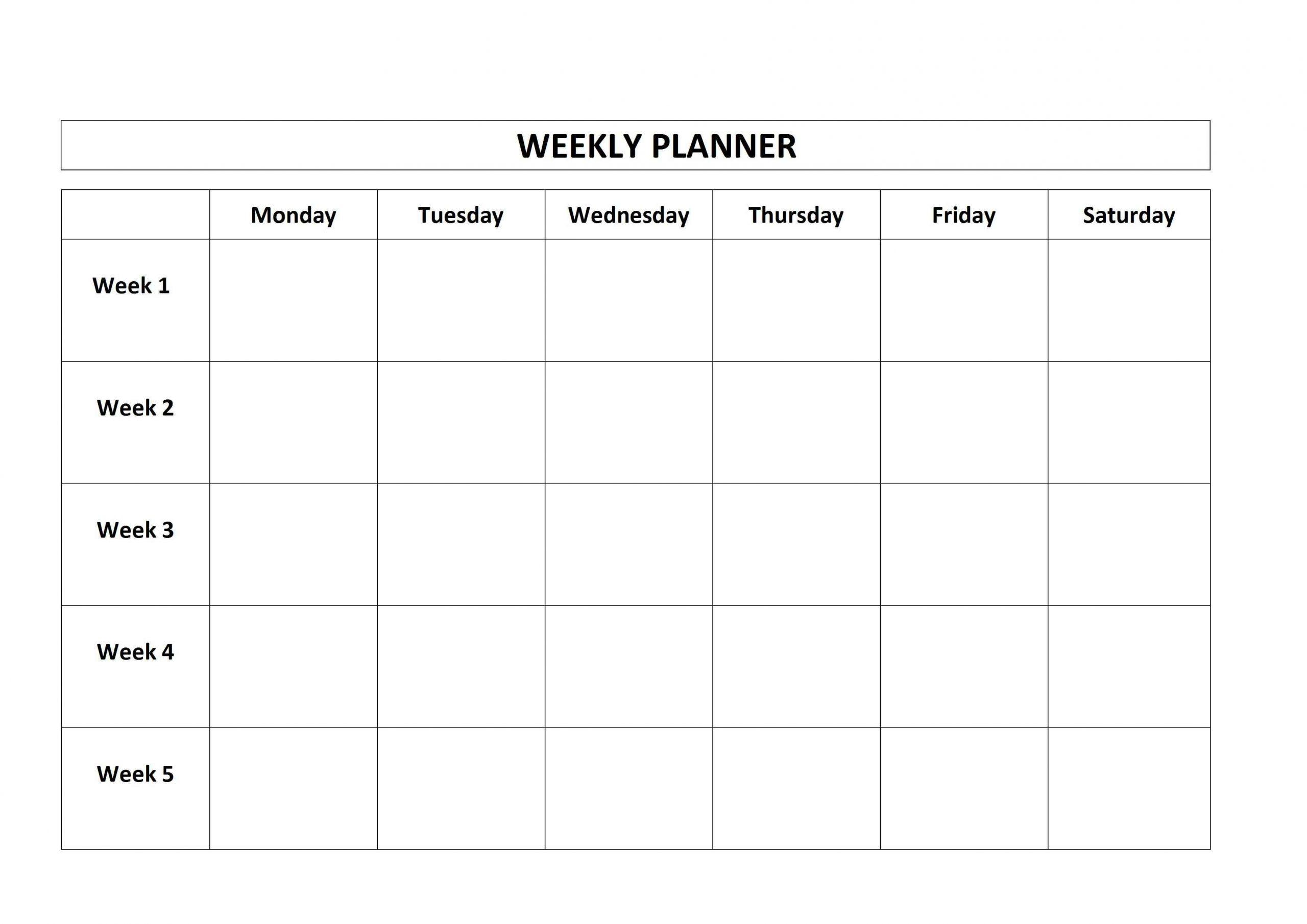 Pick Monday Through Friday Monthly Calendar