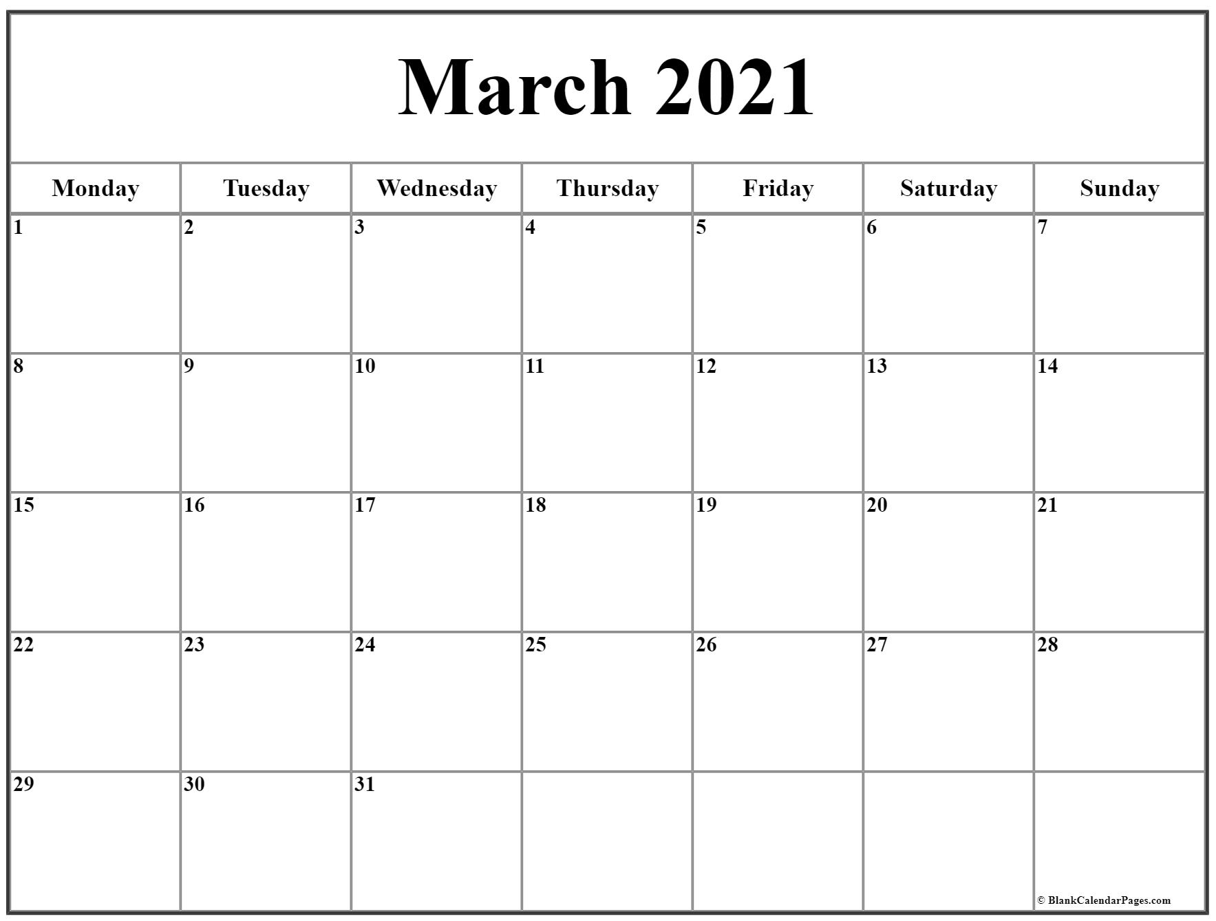 Pick Monday Through Sunday Calendar 2021