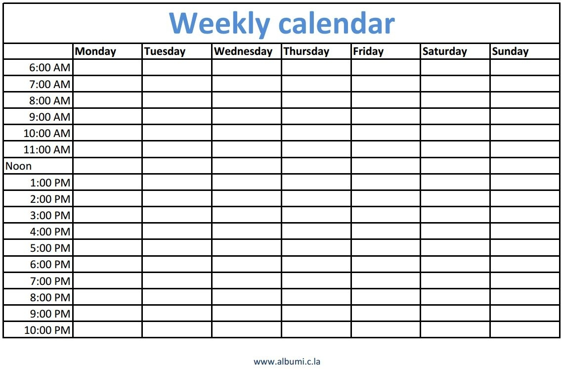 Pick Monday To Friday Calendar With Times
