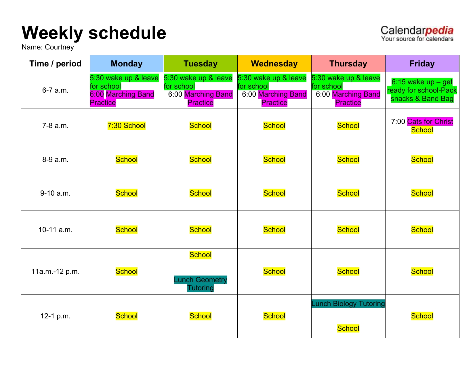 Pick Monday To Friday Leave Schedule