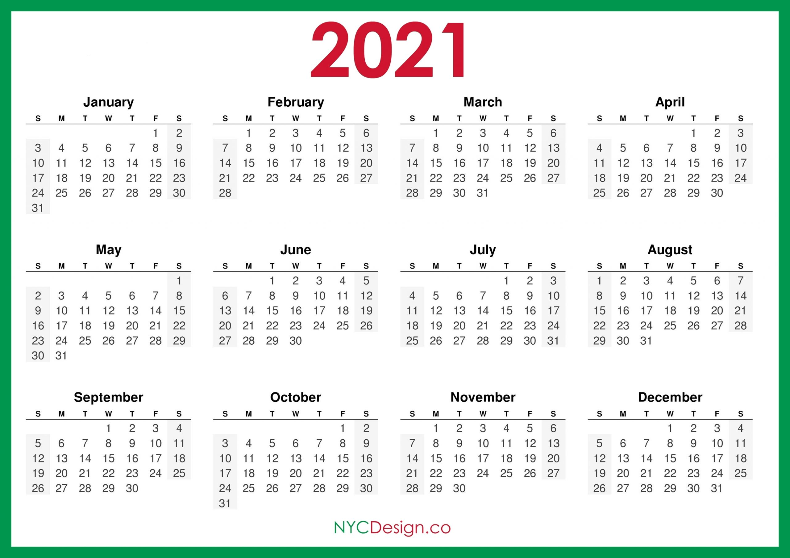 Pick Monday To Sunday Calendar 2021