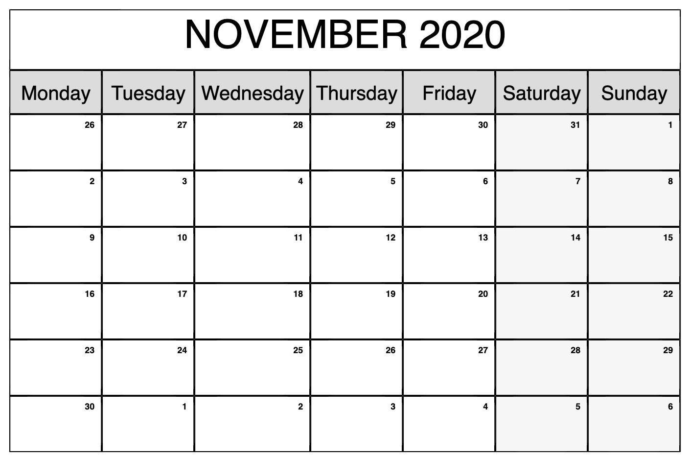 Pick Monday To Sunday Calendar Pdf