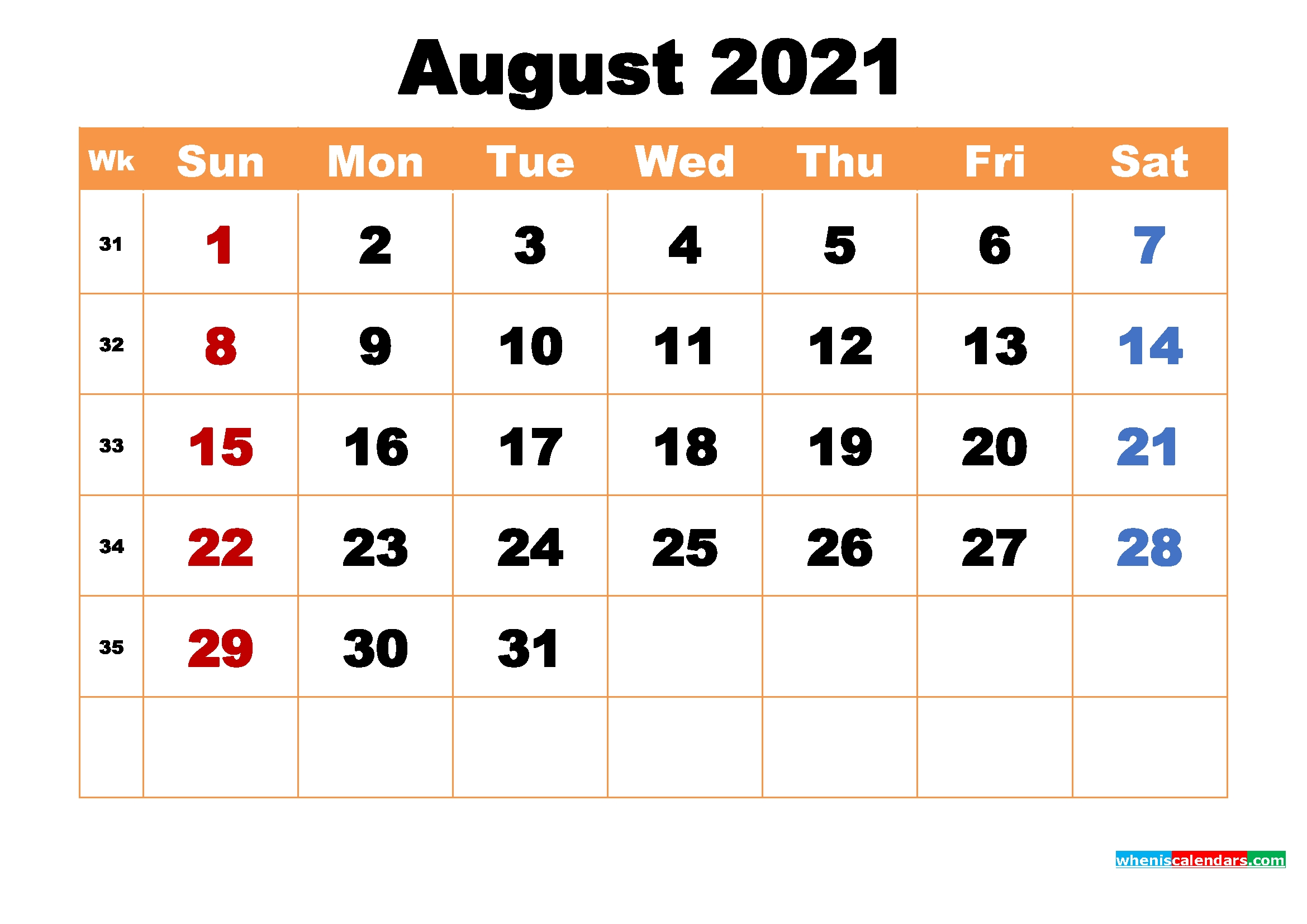 Pick Month August 2021