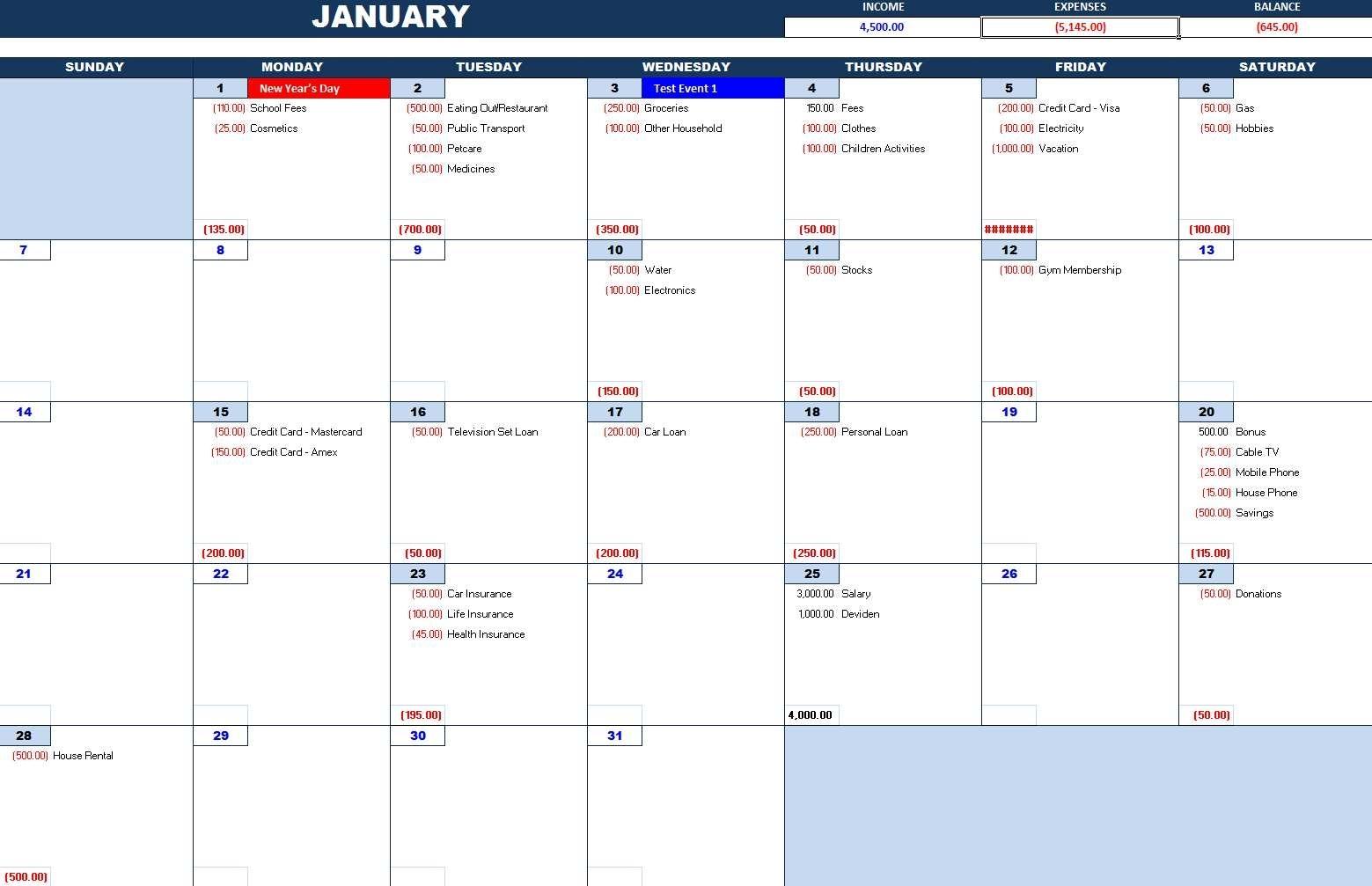 Pick Monthly Bill Calendar Template