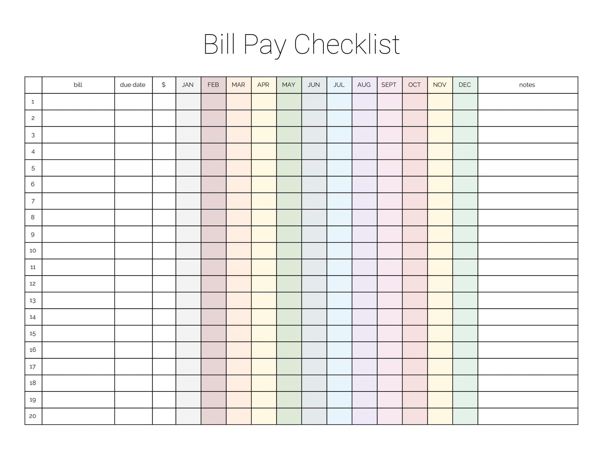 Pick Monthly Bills Due List Printable