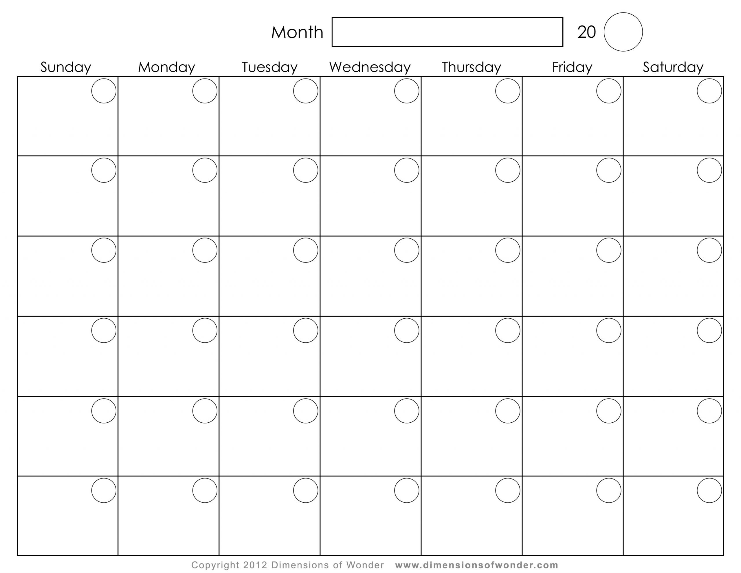 Pick Monthly Calendar Printable 8X11