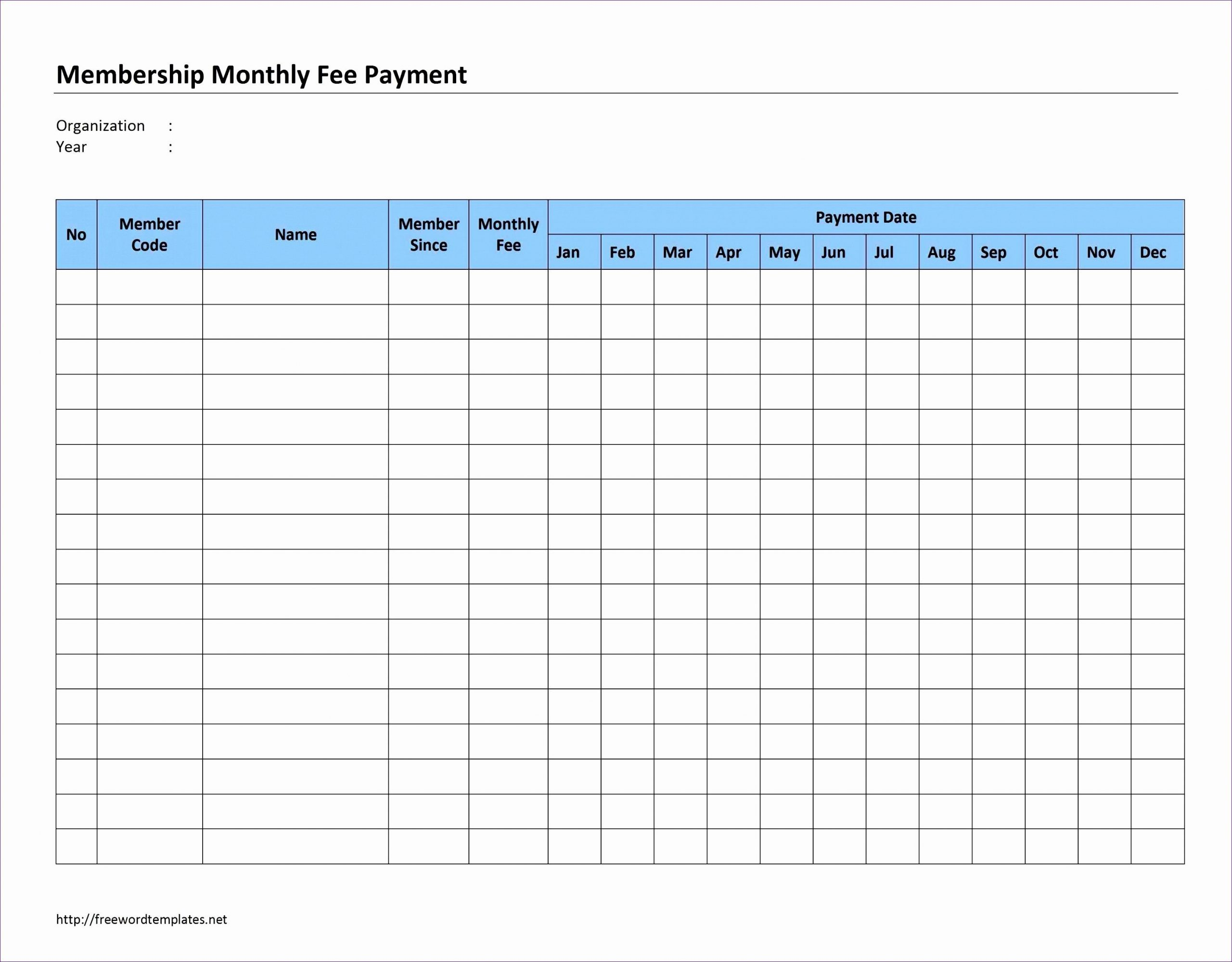 Pick Monthly Payment Schedule Printable