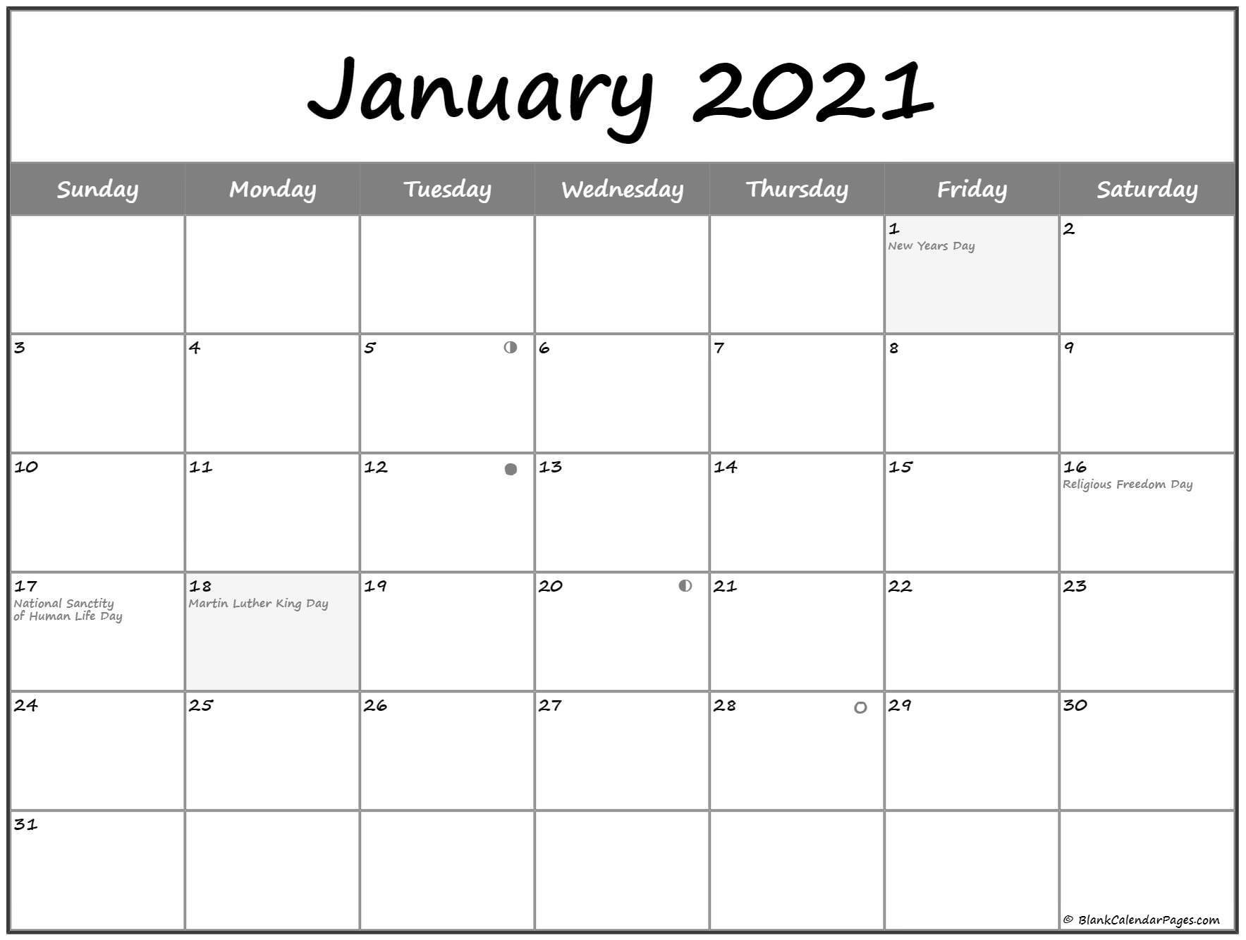 Pick Moon Phase Calendar 2021 Printable