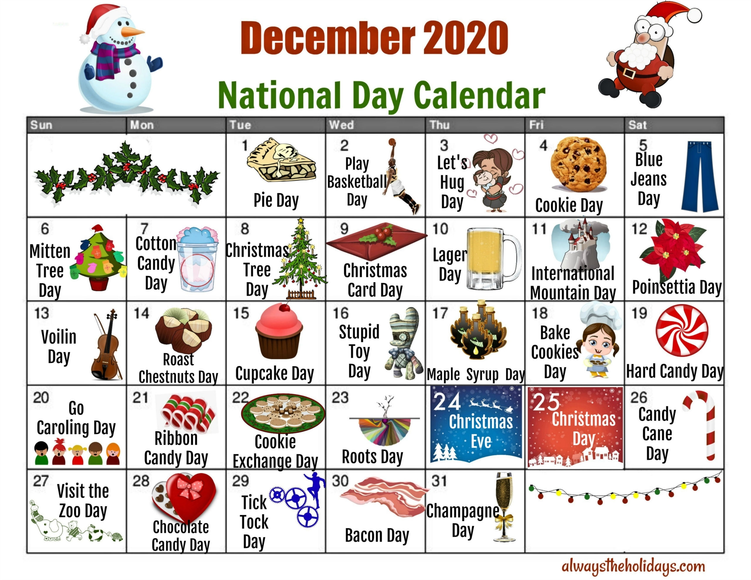 Pick National Day Calendar 2021 Printable List