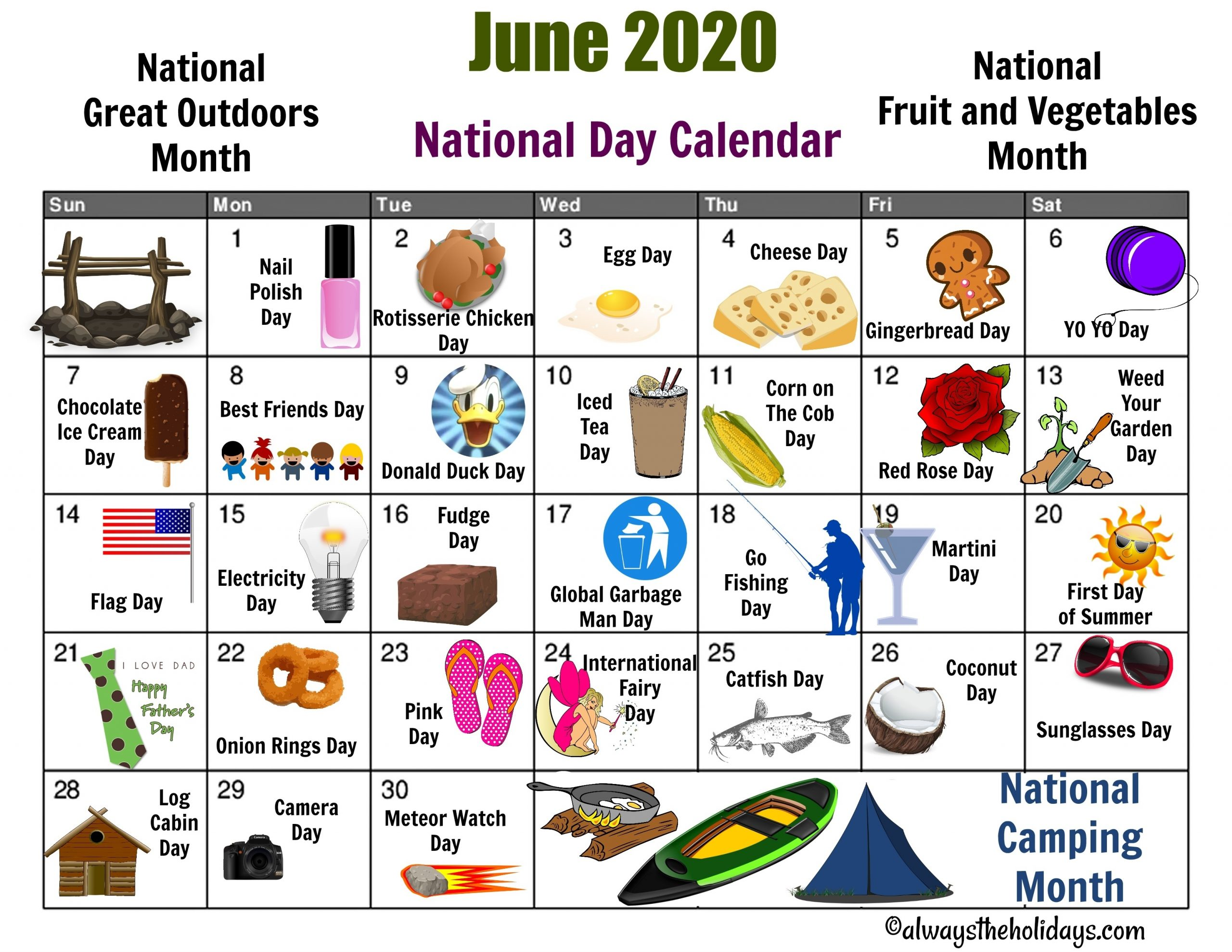 Pick National Day Monthly Calendar 2021