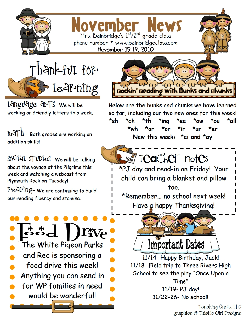 Pick Newsletter For Class 1St
