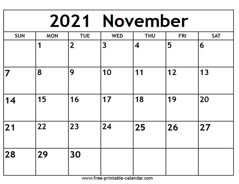 Pick November 2021 Calendar