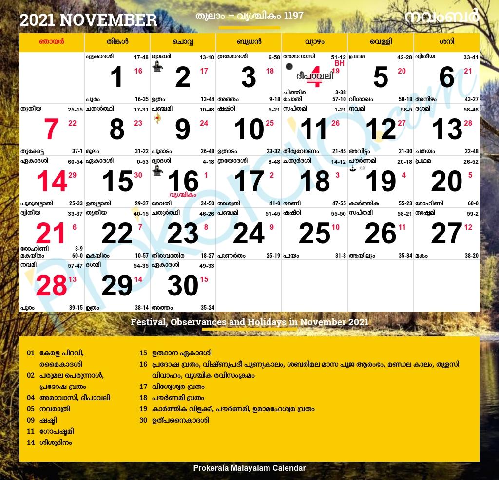 Pick November 2021 Calendar India