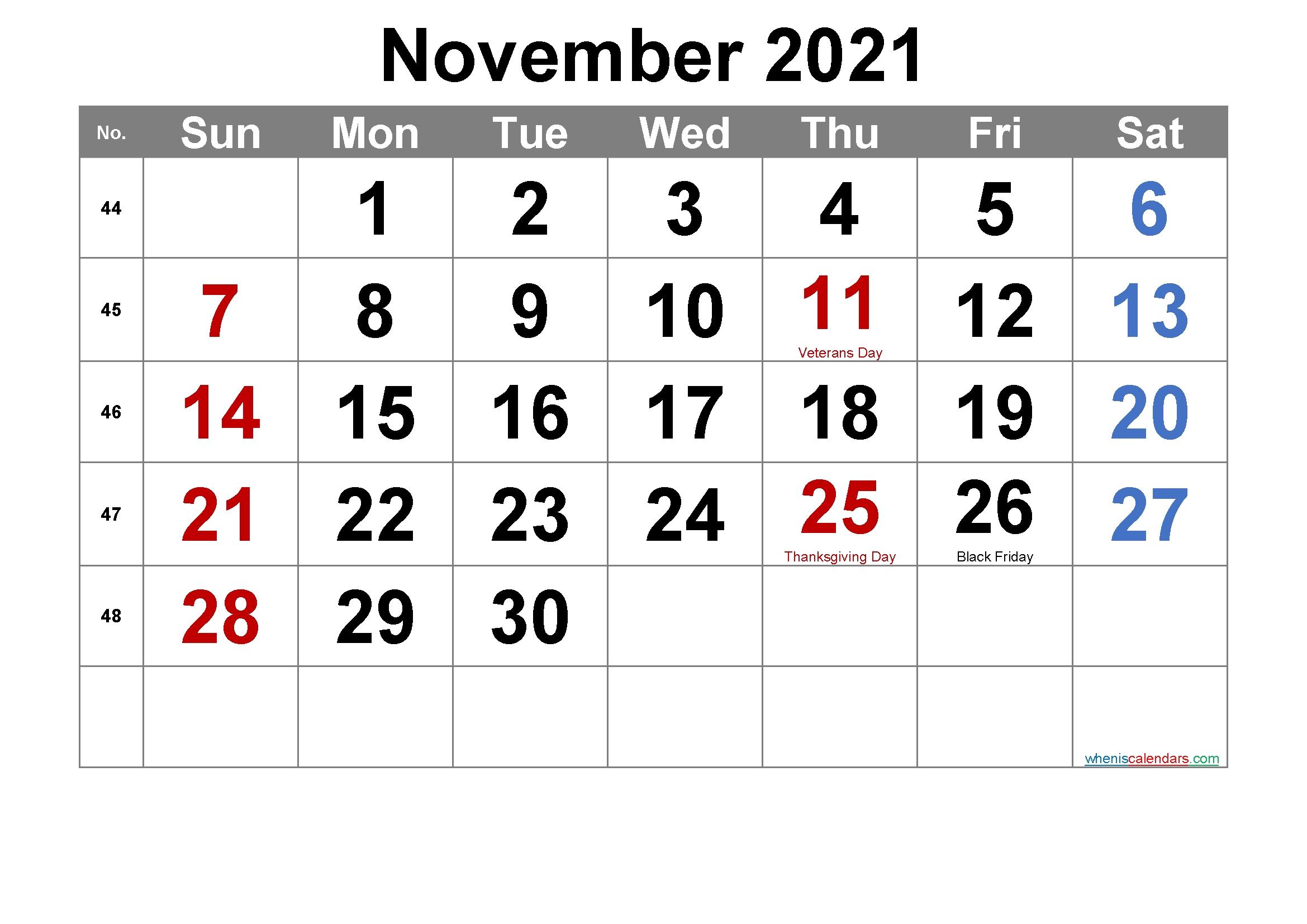 Pick November 2021 Calendar With Holidays