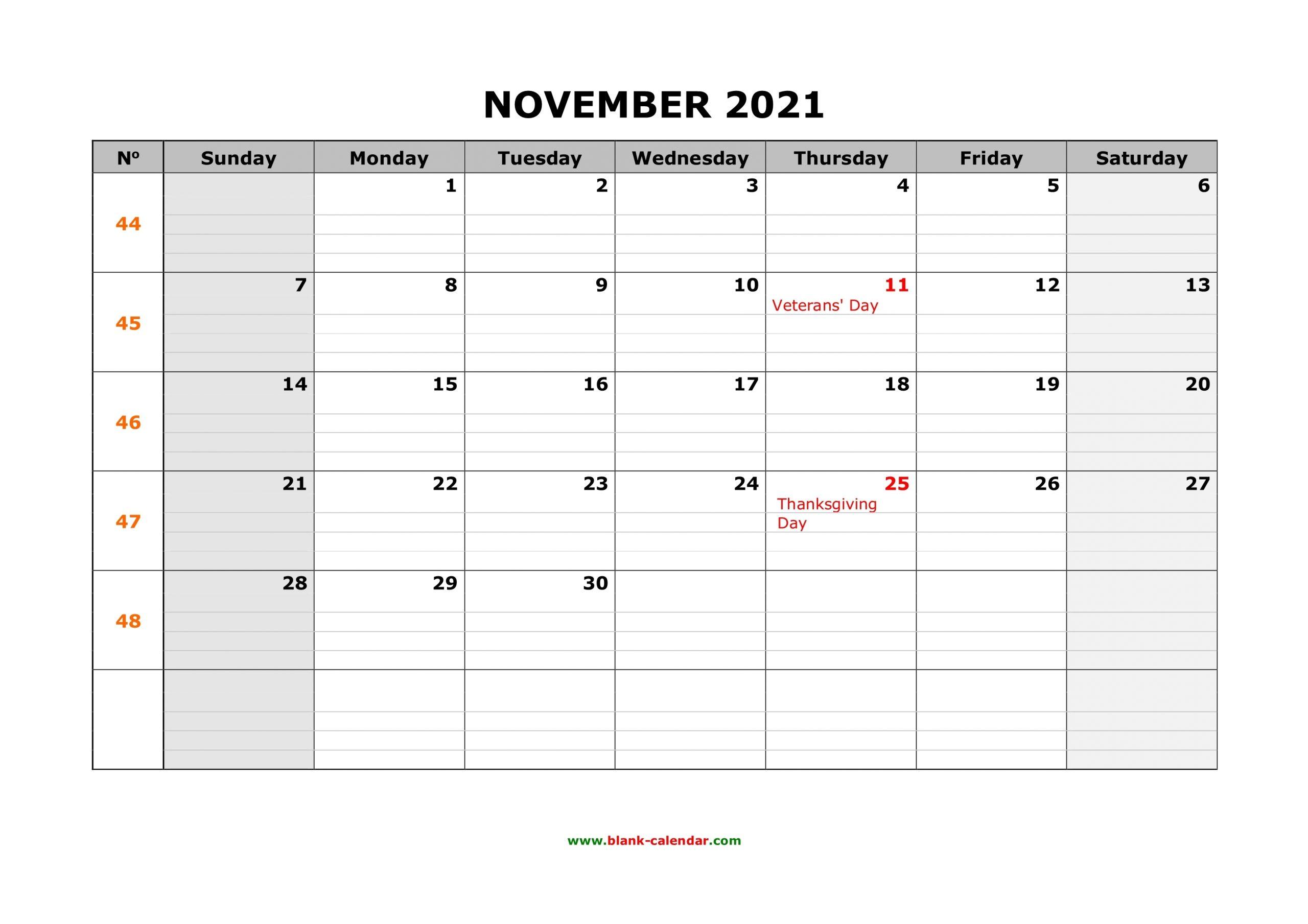 Pick November 2021 Calender Grid