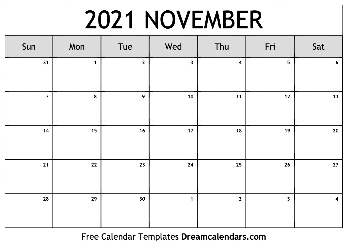 Pick November 2021 Printable Calendar Sheet
