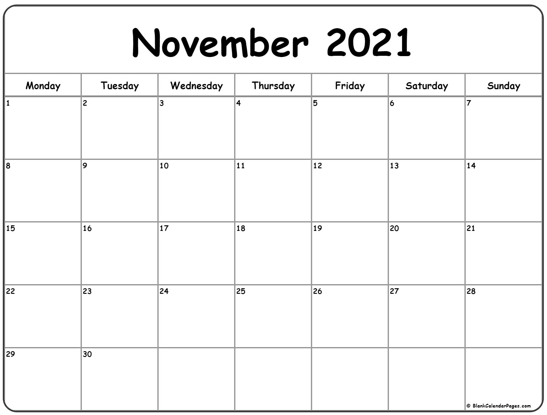 Pick November Calender 2021 Starting Monday Pretty