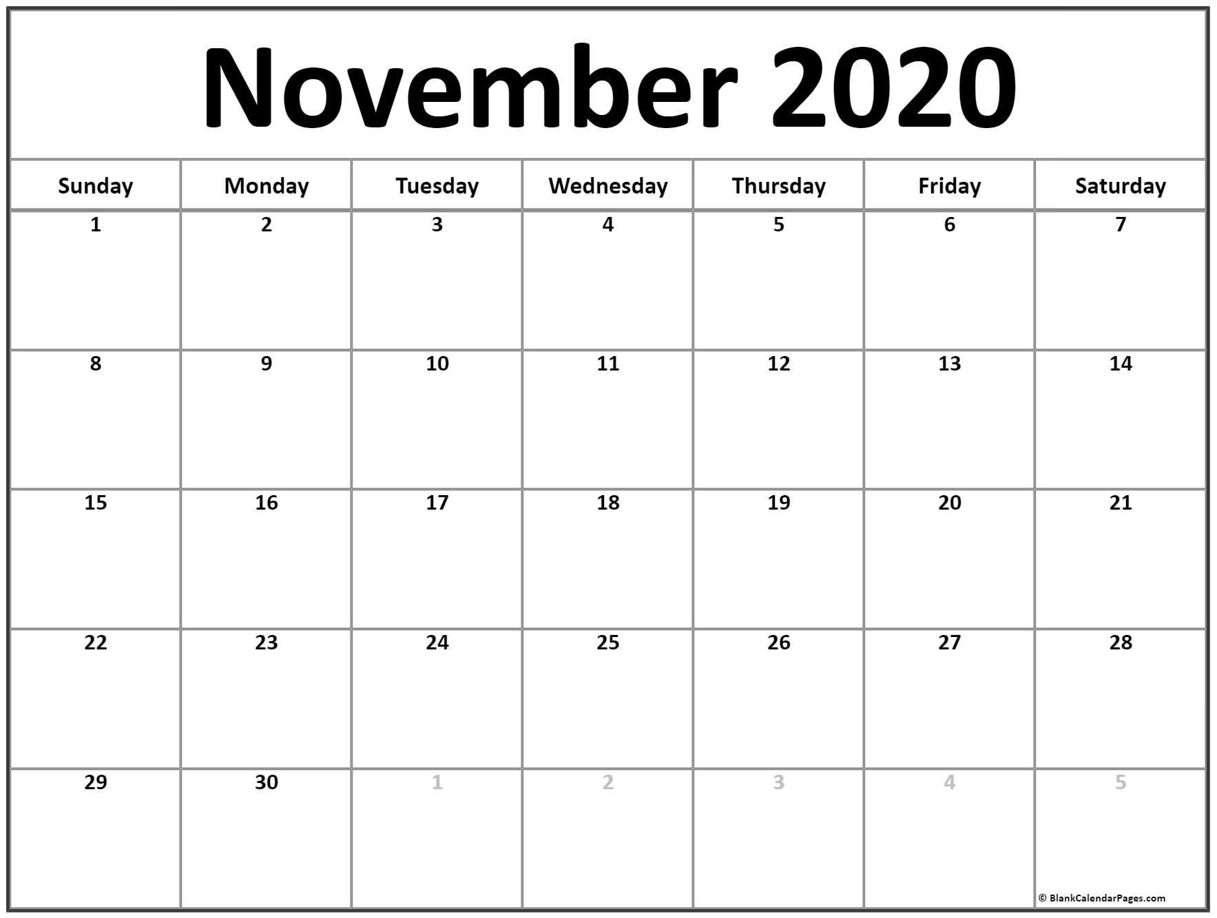 Pick November Calender Full Size