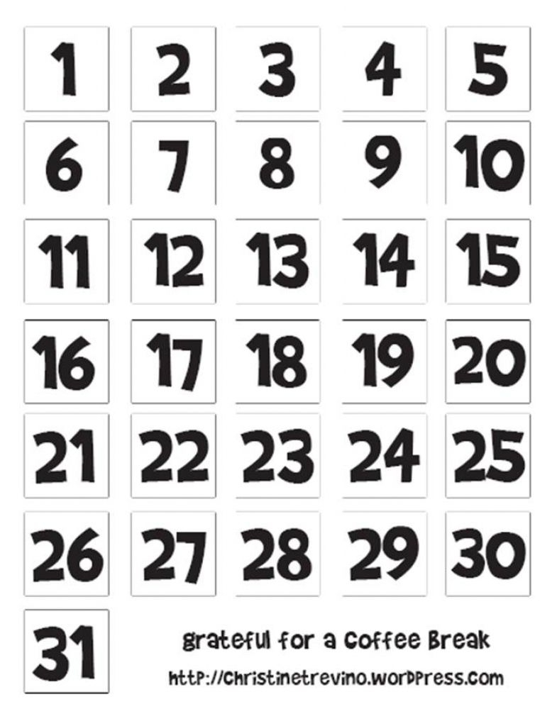 Pick Numbers 1-31 For Calendar