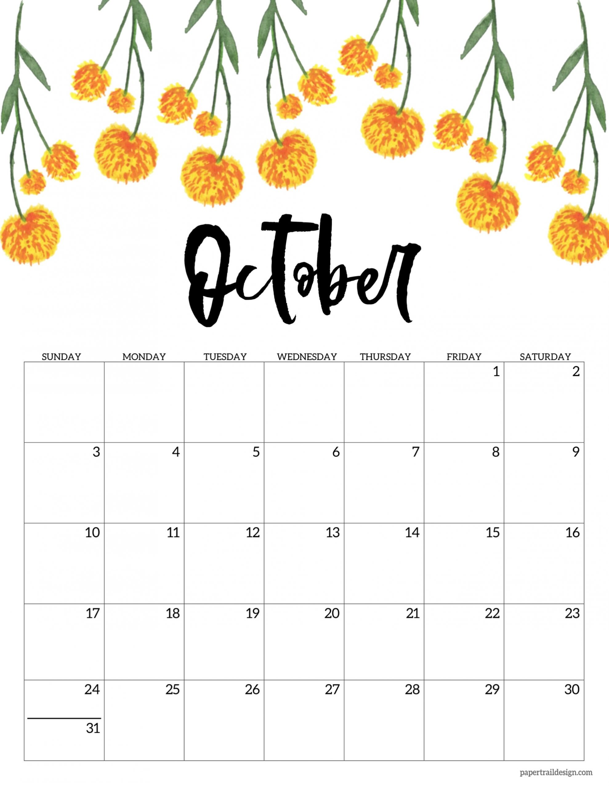 Pick October 2021 Calendar Printable Free