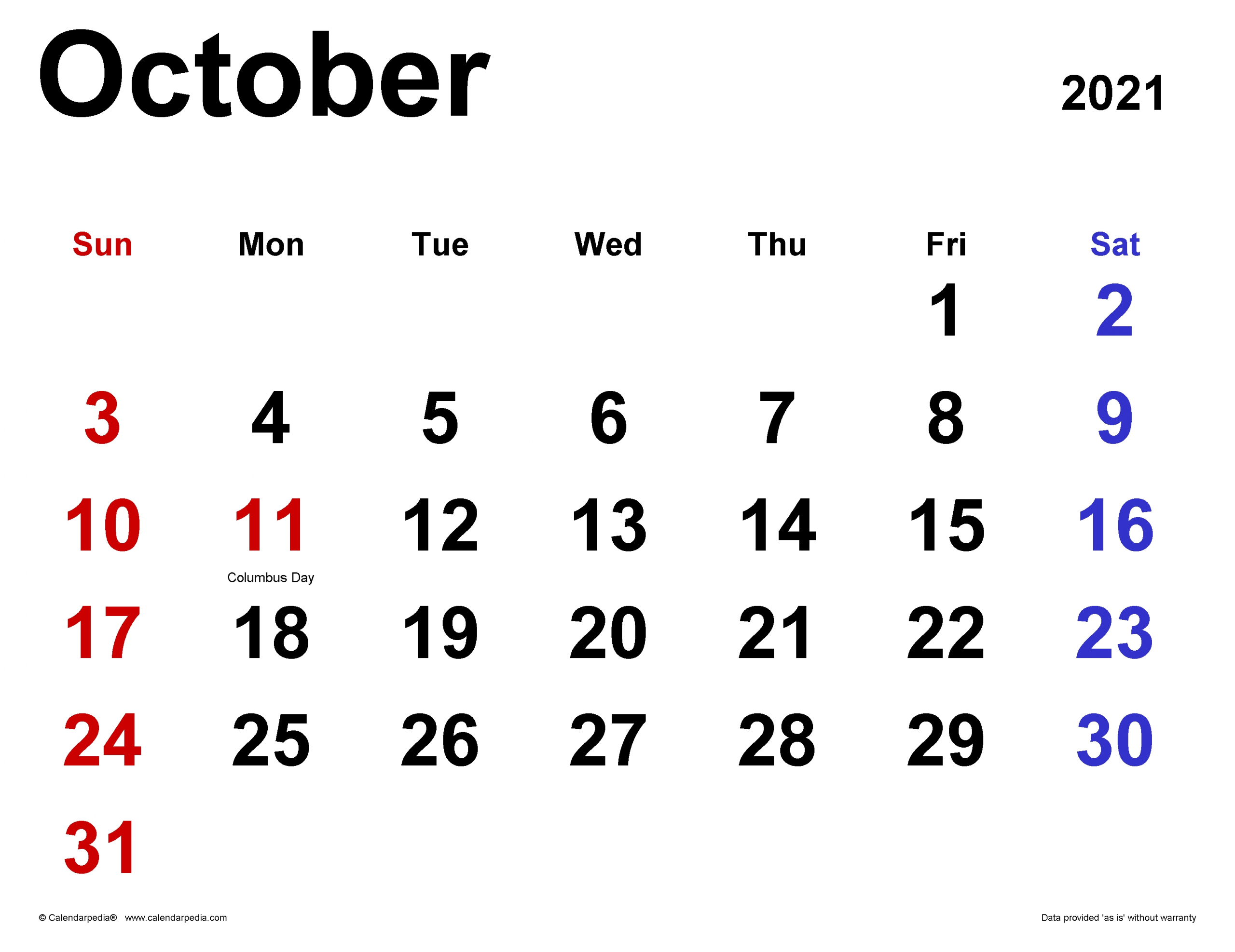 Pick October 2021 Calendar With Writing Space