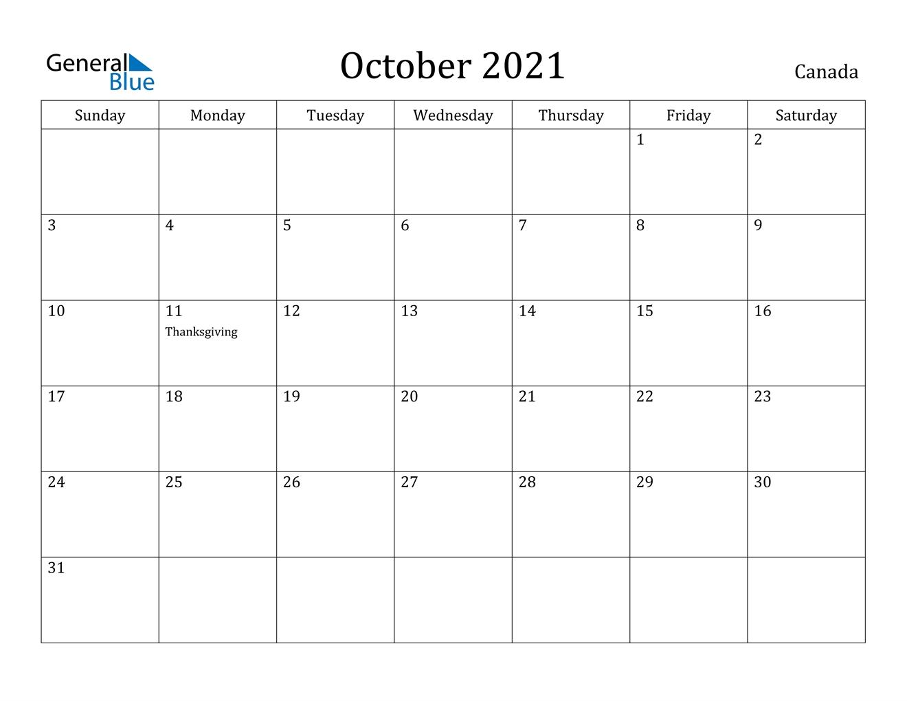 Pick October 2021 Calendar