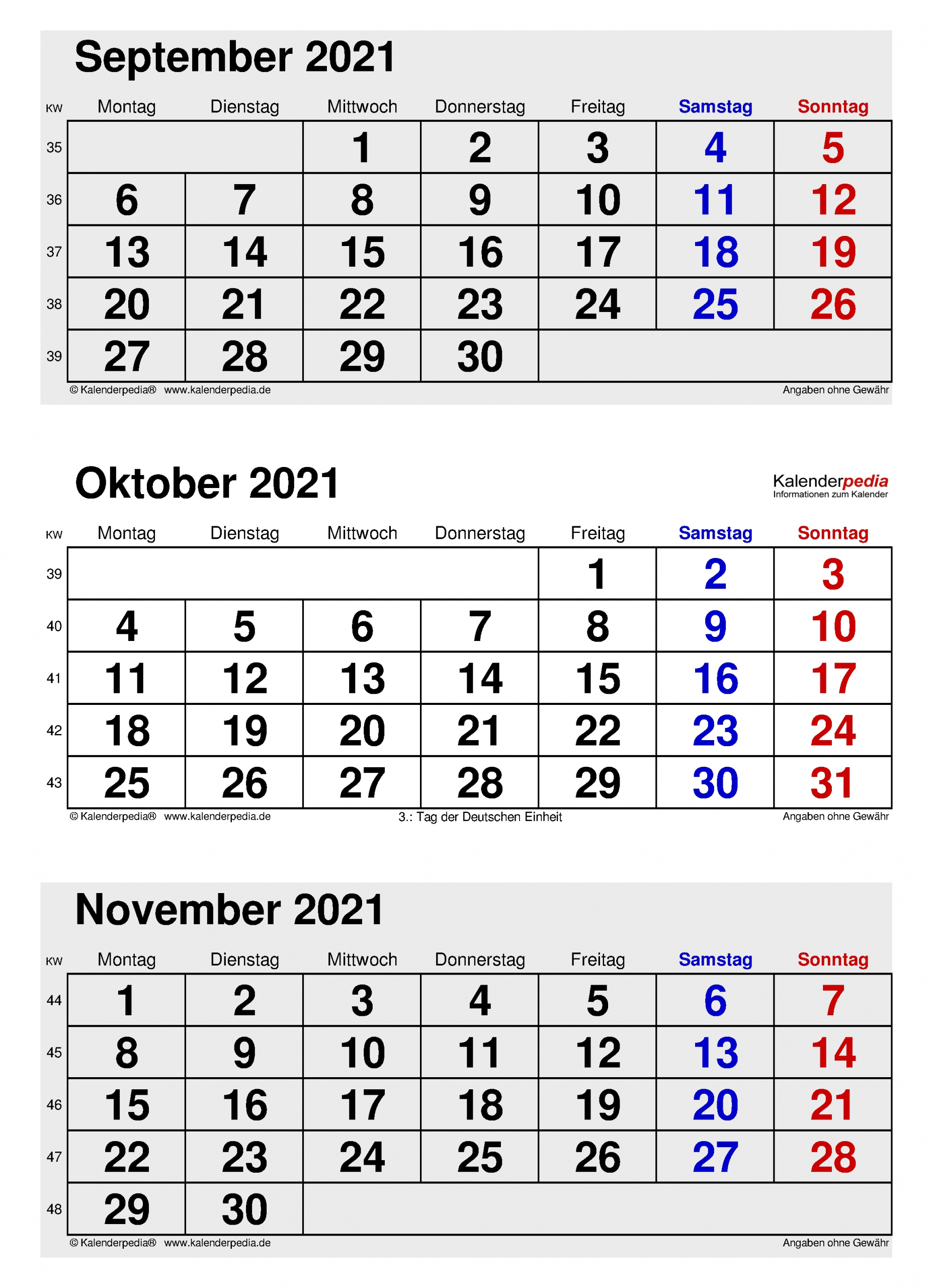 Pick Oktober - Dezember 2021 Kalender