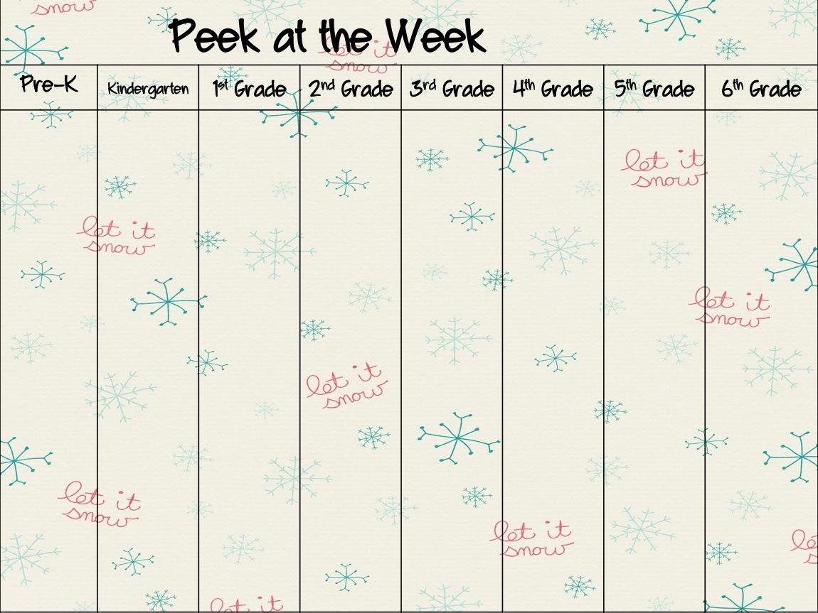 Pick Peek At The Week Template