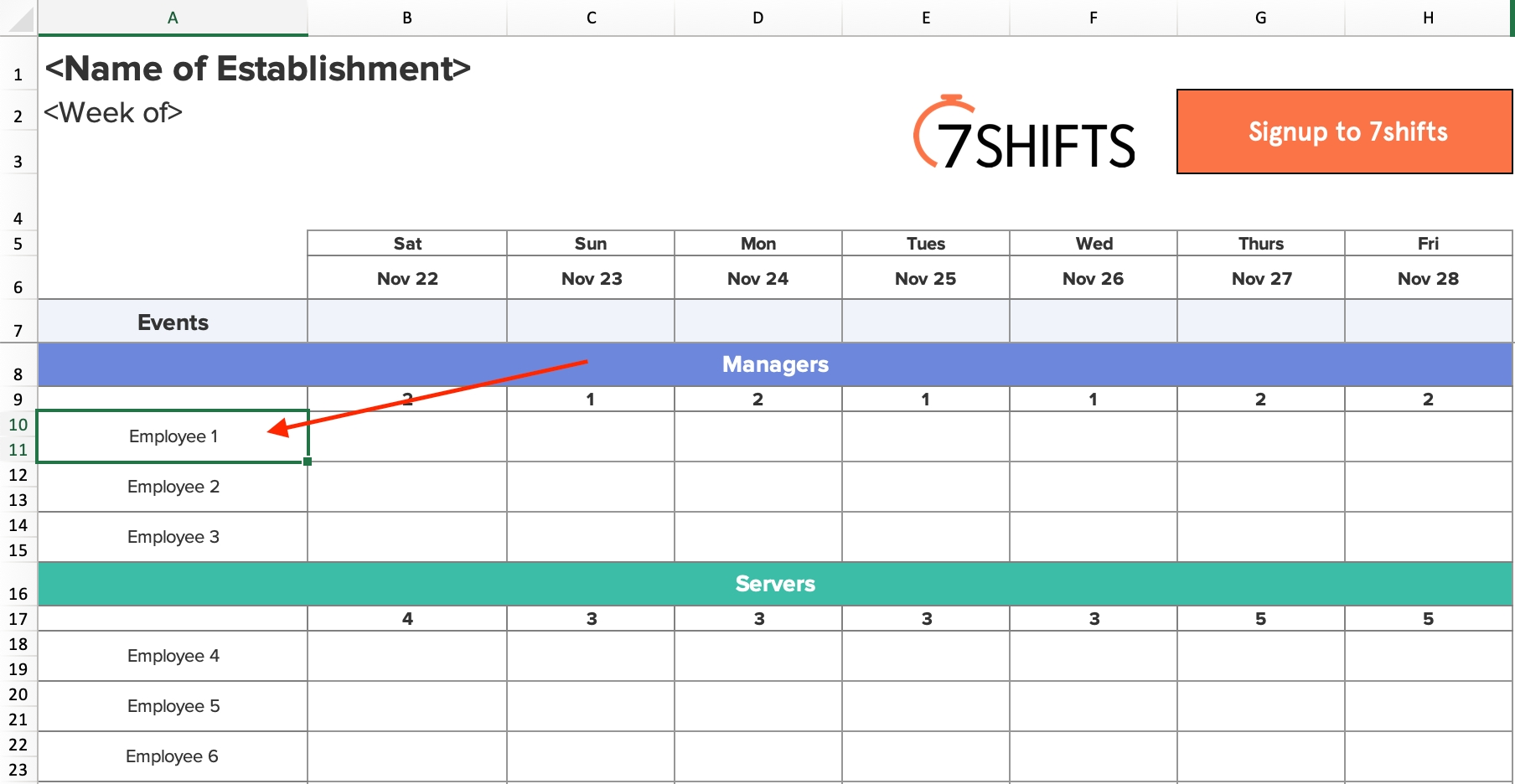 Pick Pick Up Schedule Template