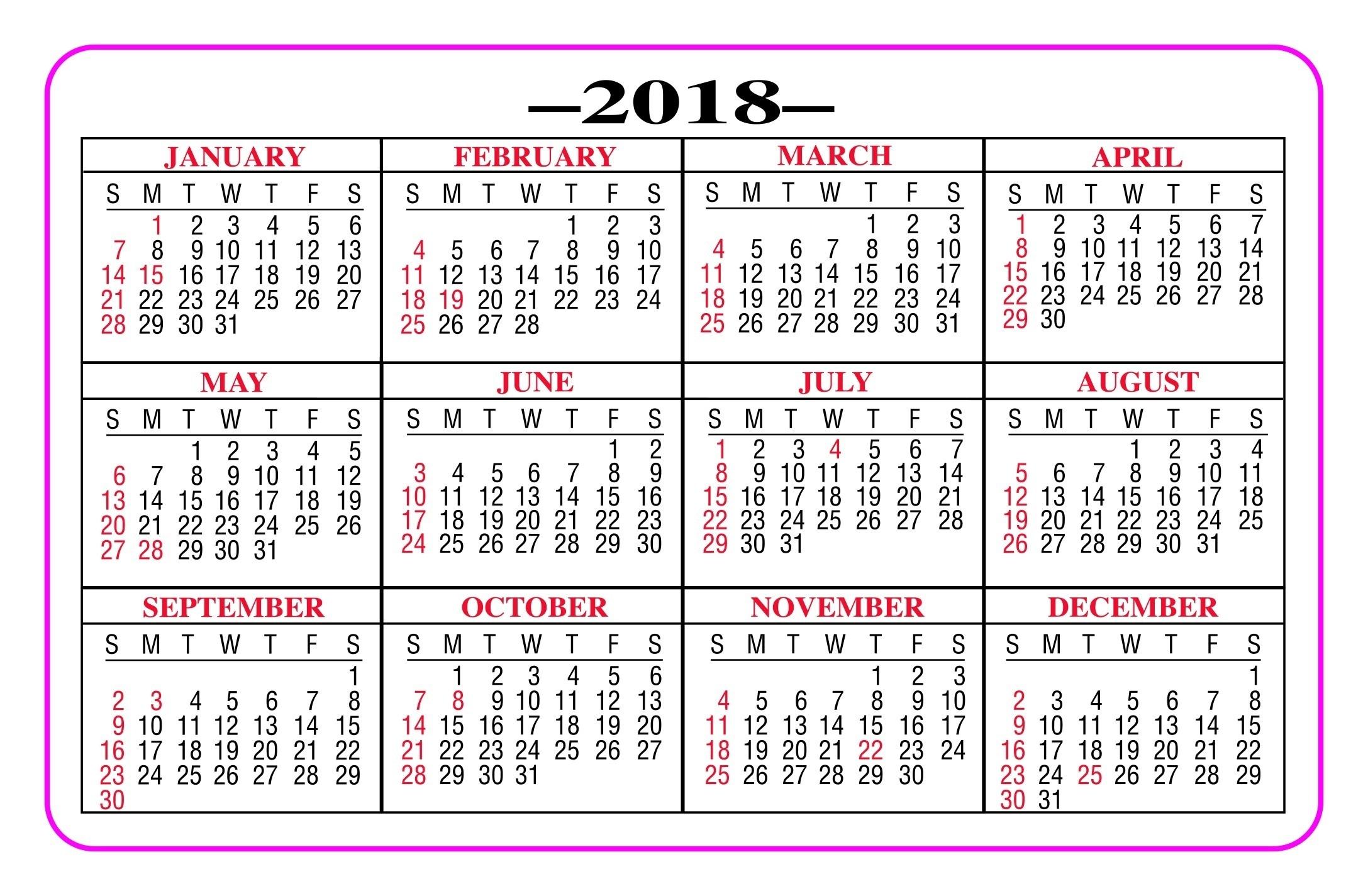 Pick Pocket Calendar Printable