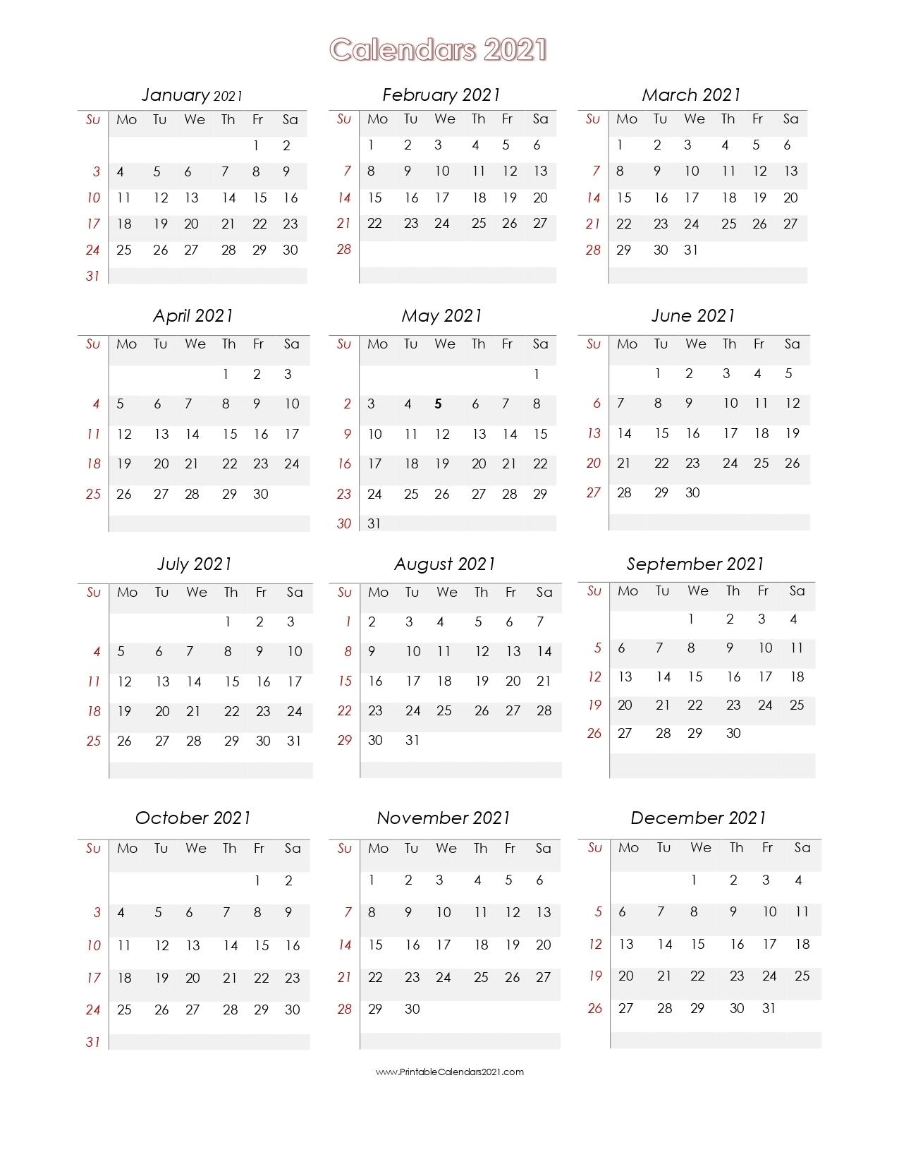 Pick Prinable 2021 Calendar No Downloads