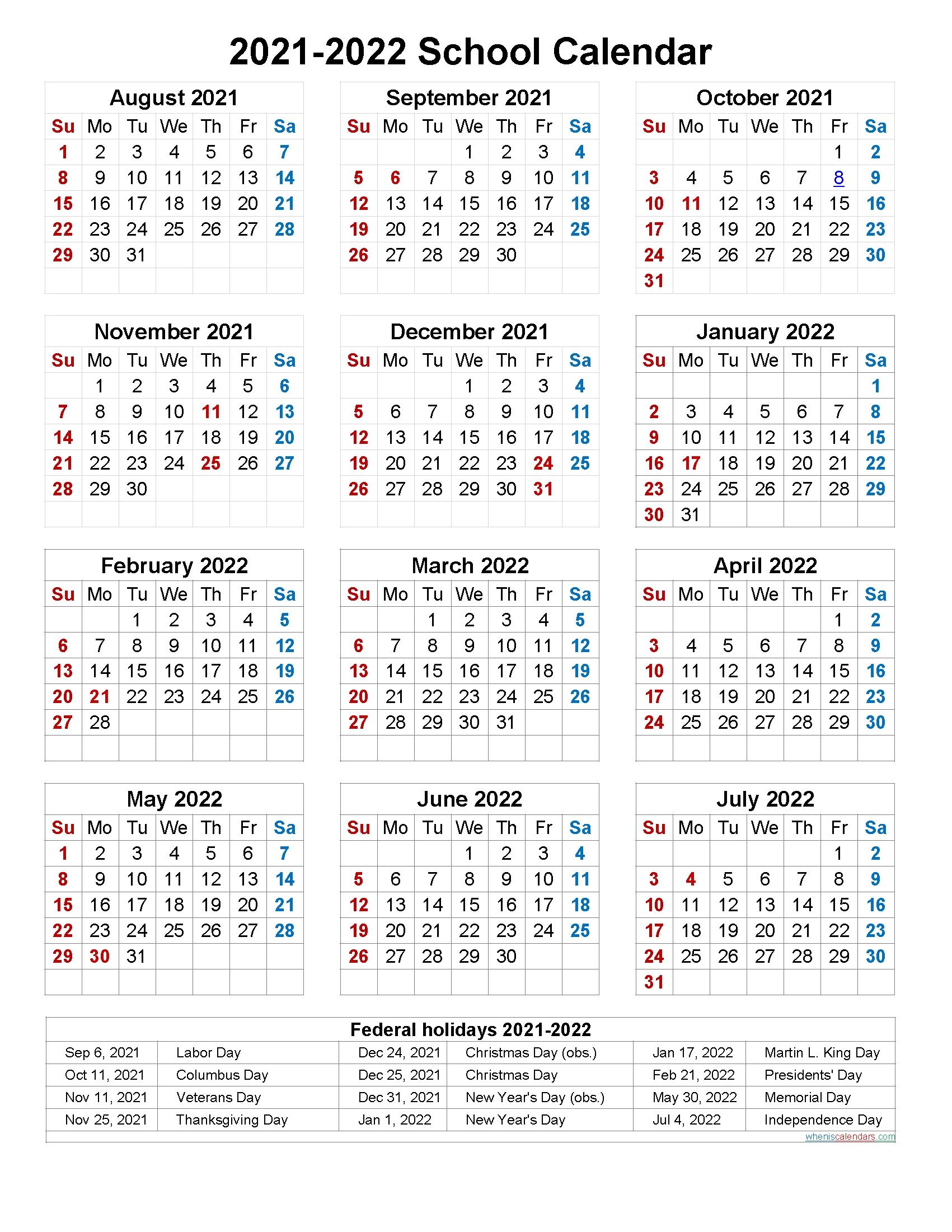 Pick Printable 2021 2022 School Calendar
