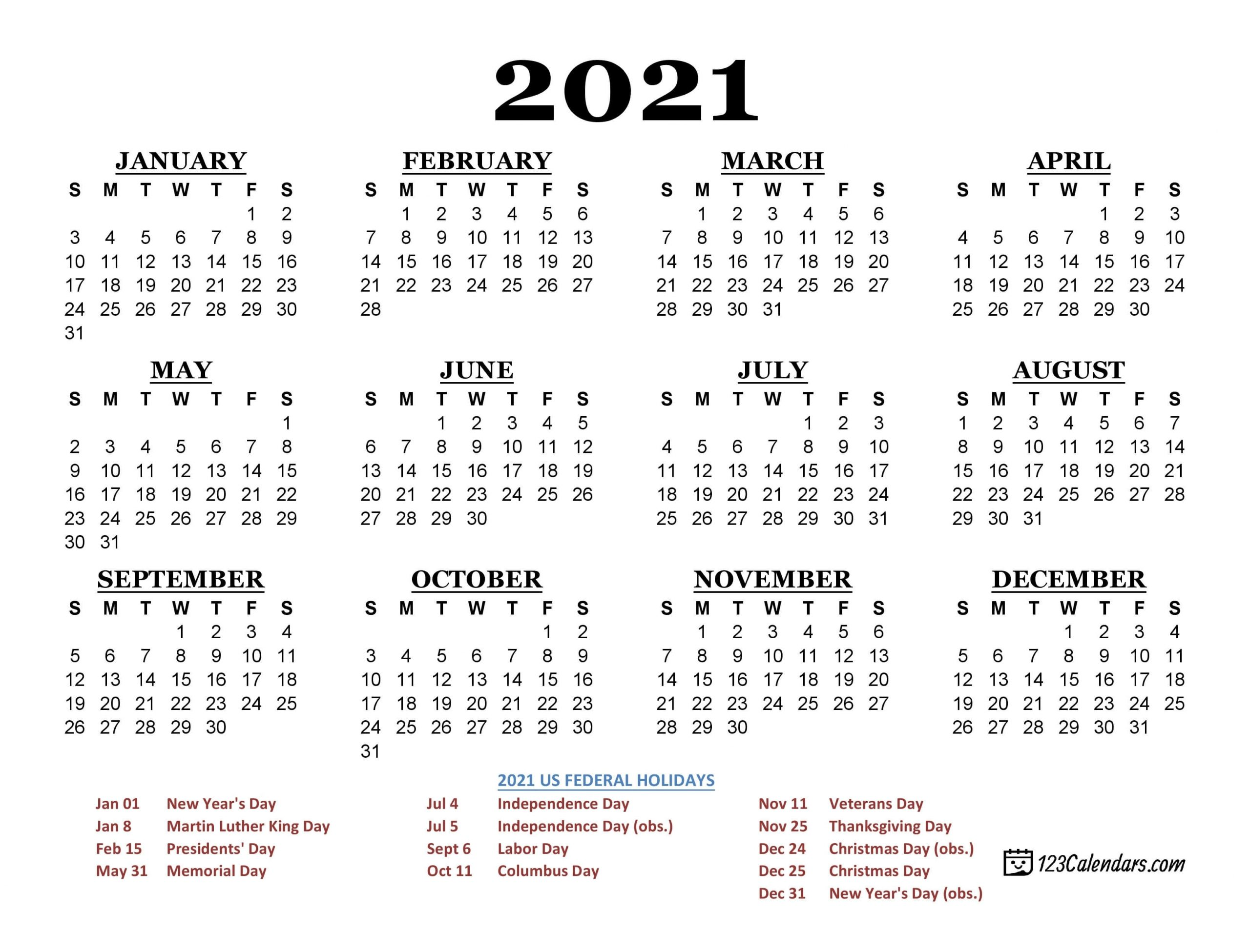 Pick Printable 2021 Calendar No Download