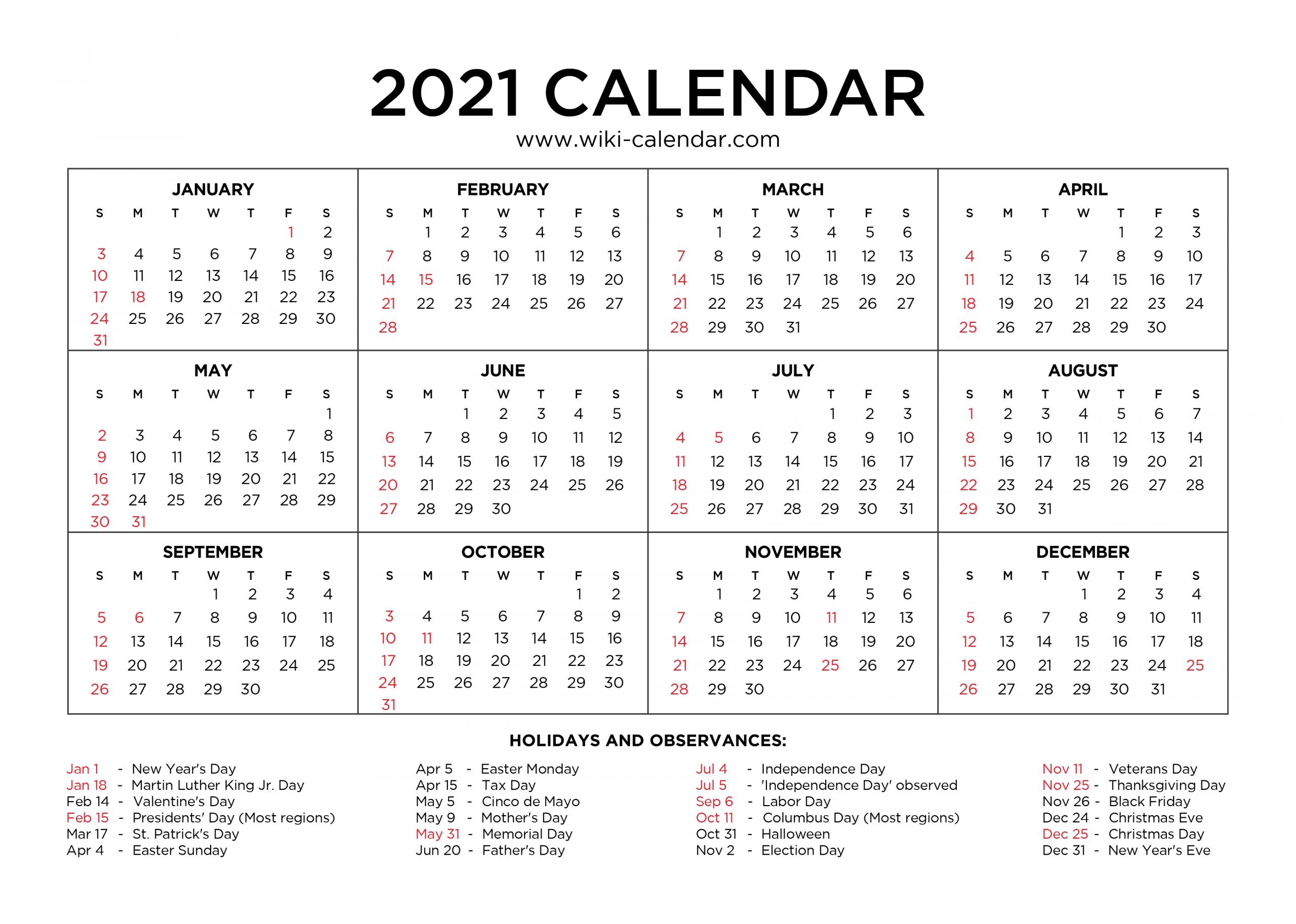 Pick Printable 2021 Calendar