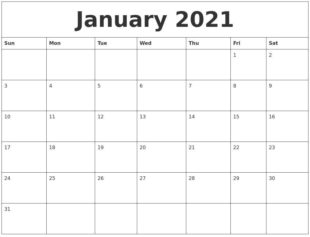 Pick Printable 30 Day Calendar 2021