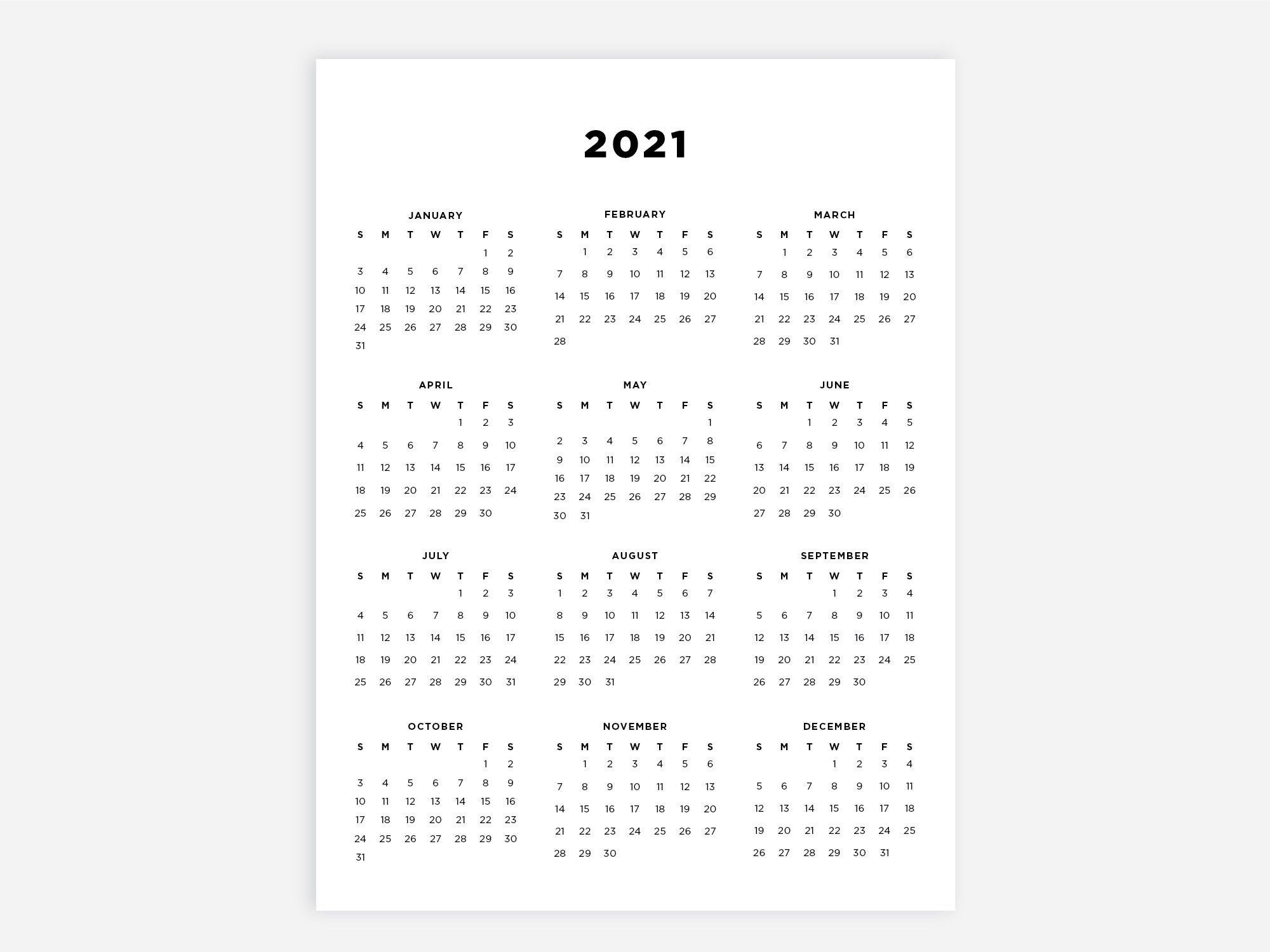 Pick Printable 8X11 Bw Yearly Calendar